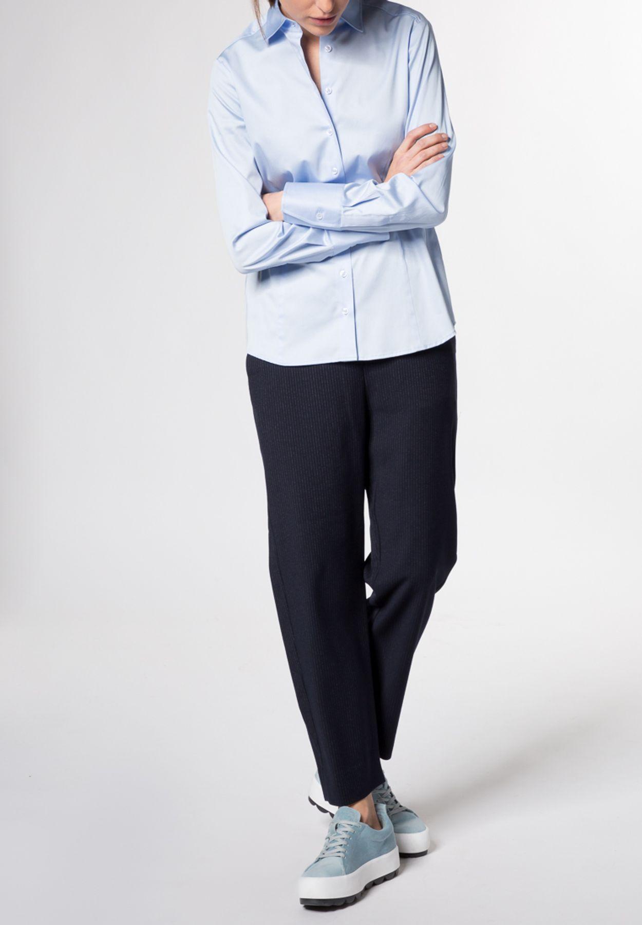 Eterna - Comfort Fit - Damen Langarm Bluse Modern Classic Stretch in versch. Farben (5352 D708) – Bild 7
