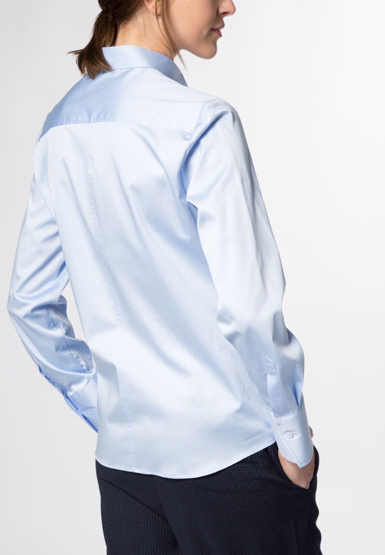 Eterna - Comfort Fit - Damen Langarm Bluse Modern Classic Stretch in versch. Farben (5352 D708) – Bild 8