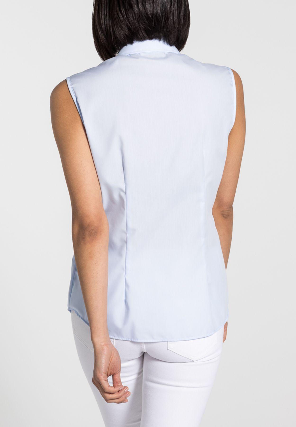 Eterna -  Comfort-Fit - Bügelfreie Damen Bluse ohne Arm in Weiß, Hellblau oder Rosa (5220 A790) – Bild 3