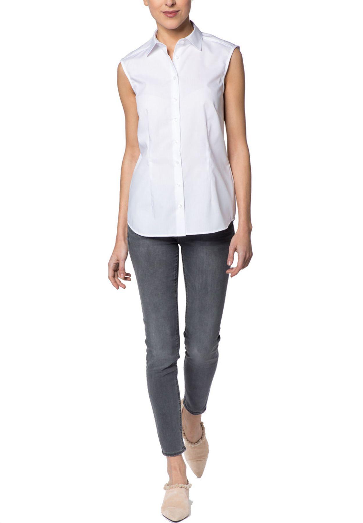 Eterna -  Comfort-Fit - Bügelfreie Damen Bluse ohne Arm in Weiß, Hellblau oder Rosa (5220 A790) – Bild 13