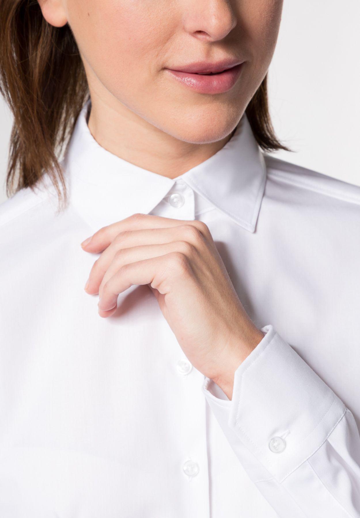 Eterna -  Comfort-Fit - Damen Langarm-Bluse Modern Classic Unifarben  (5220 D790) – Bild 4