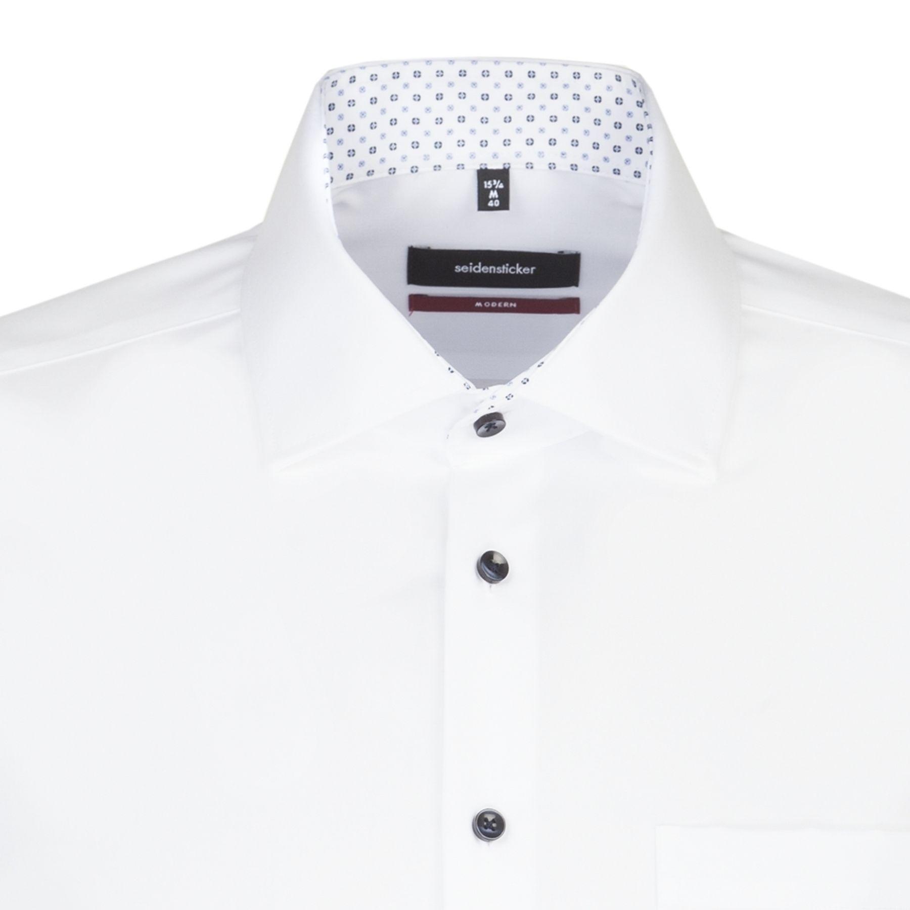 Seidensticker - Herren Hemd, Bügelfrei, Modern, Schwarze Rose mit Kent Kragen in Weiß (01.115950) – Bild 4