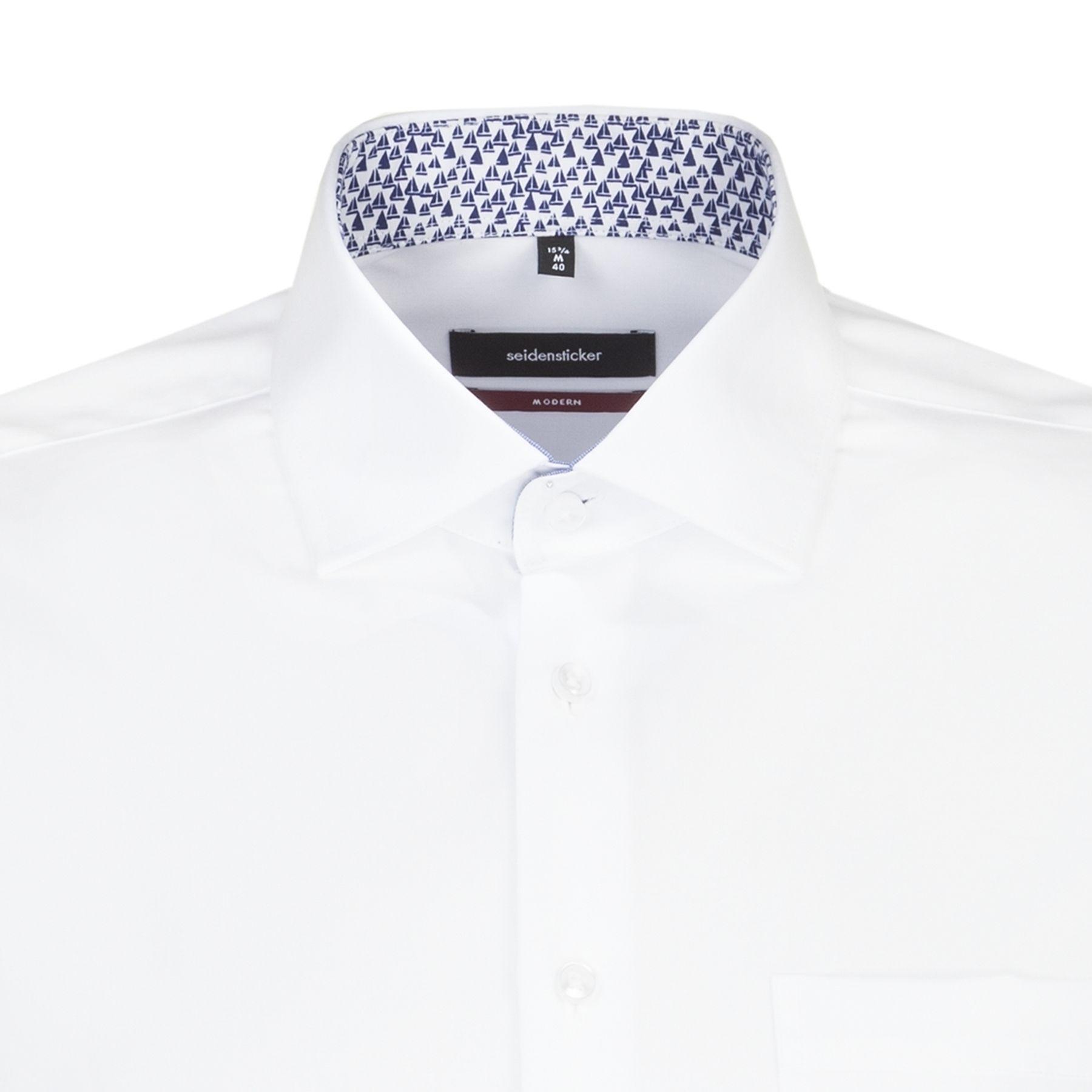 Seidensticker - Herren Hemd, Bügelfrei, Modern, Schwarze Rose mit Kent Kragen in Weiß (01.115980) – Bild 4