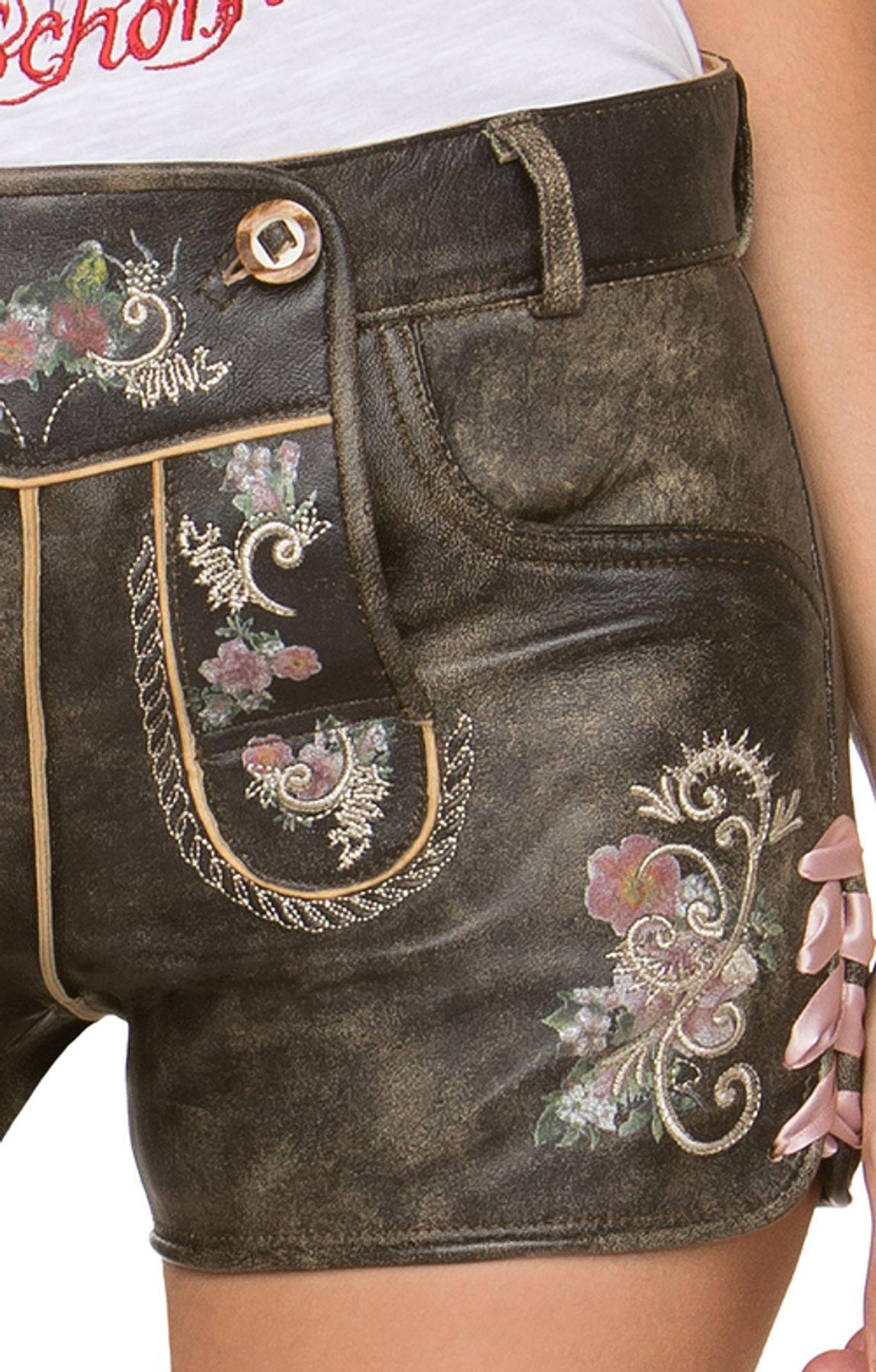 Stockerpoint - Damen Trachten Lederhose kurz, Nera – Bild 4