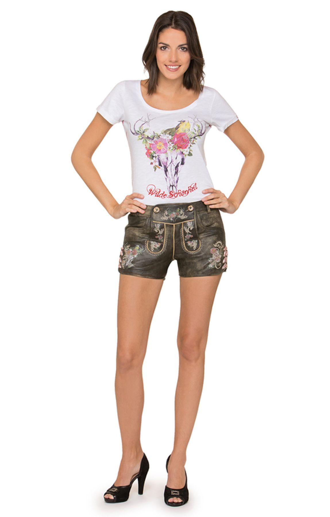 Stockerpoint - Damen Trachten Lederhose kurz, Nera – Bild 2