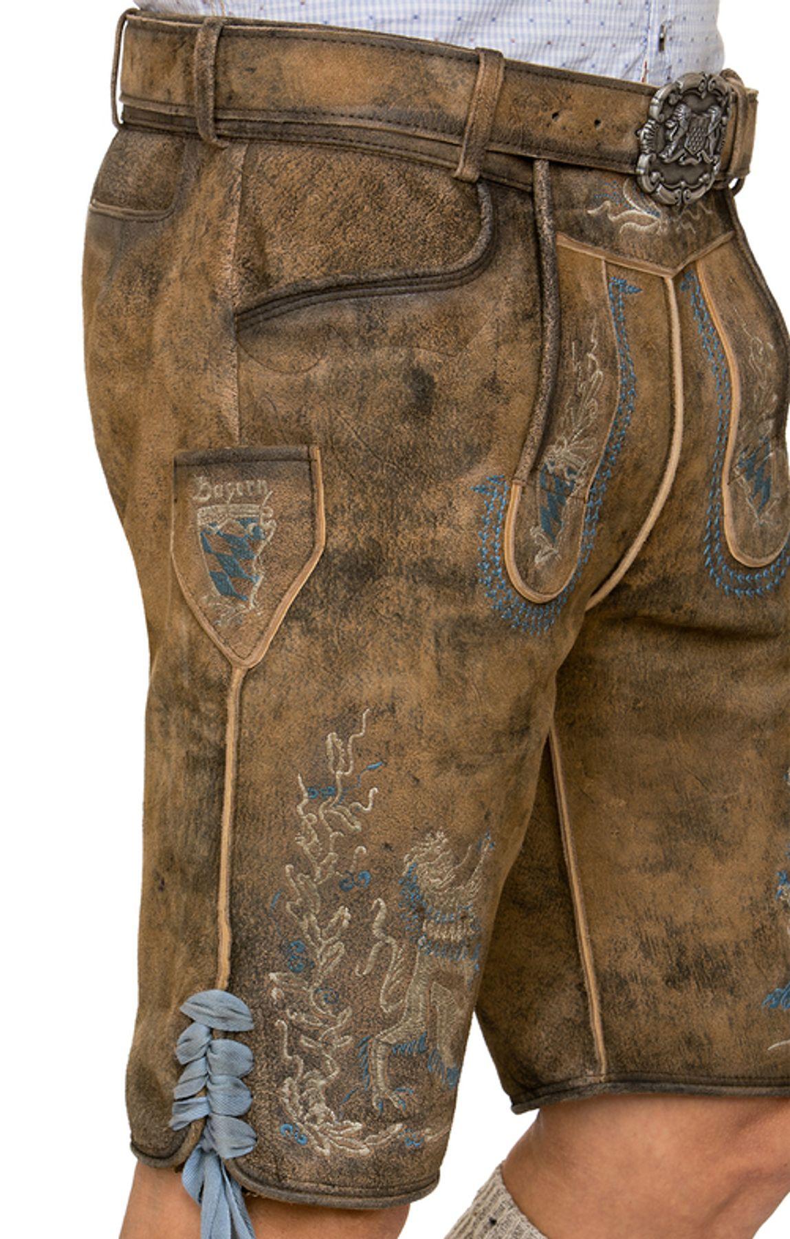 Stockerpoint - Herren Trachten Lederhose mit Gürtel, in Hanf gespeckt, Bayern-Bua – Bild 4