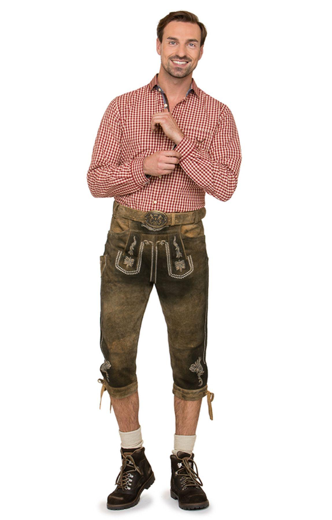 Stockerpoint - Herren Trachten Lederhose mit Gürtel, in uroid gespeckt, Sebastian – Bild 3