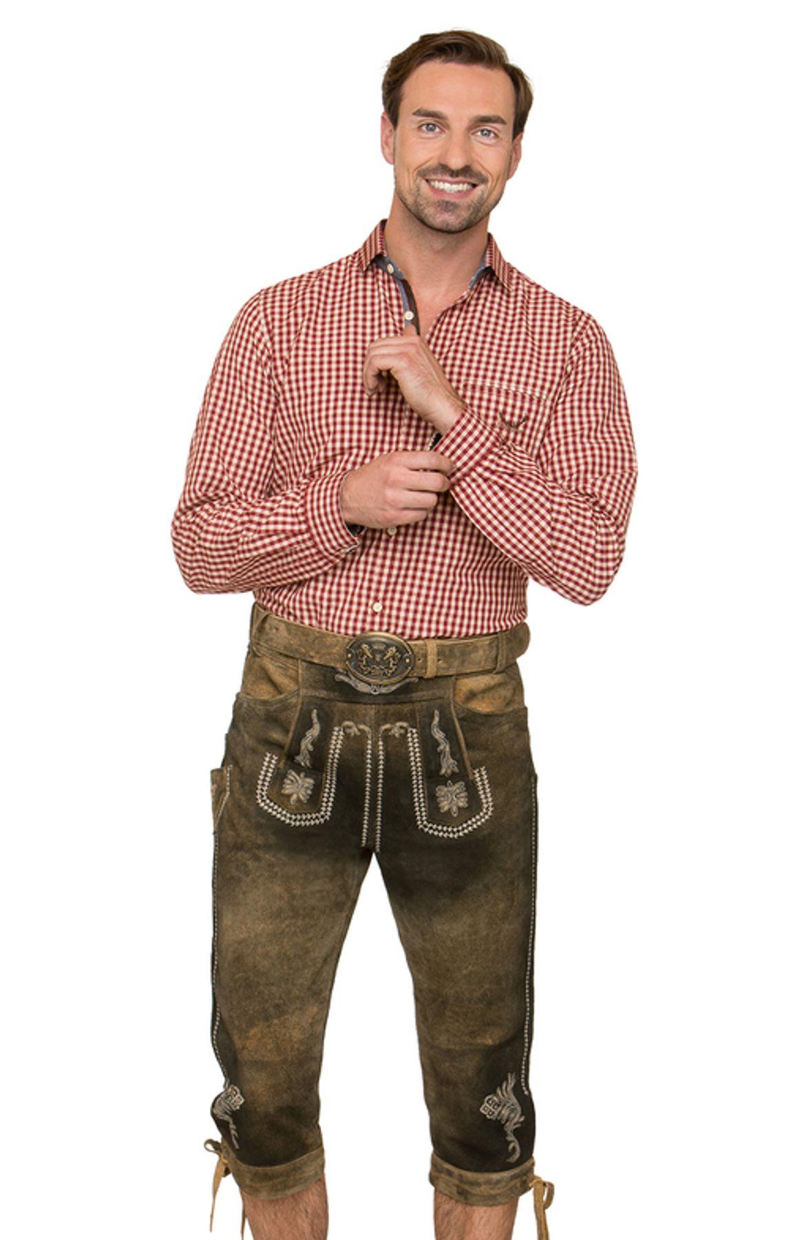 Stockerpoint - Herren Trachten Lederhose mit Gürtel, in uroid gespeckt, Sebastian – Bild 2