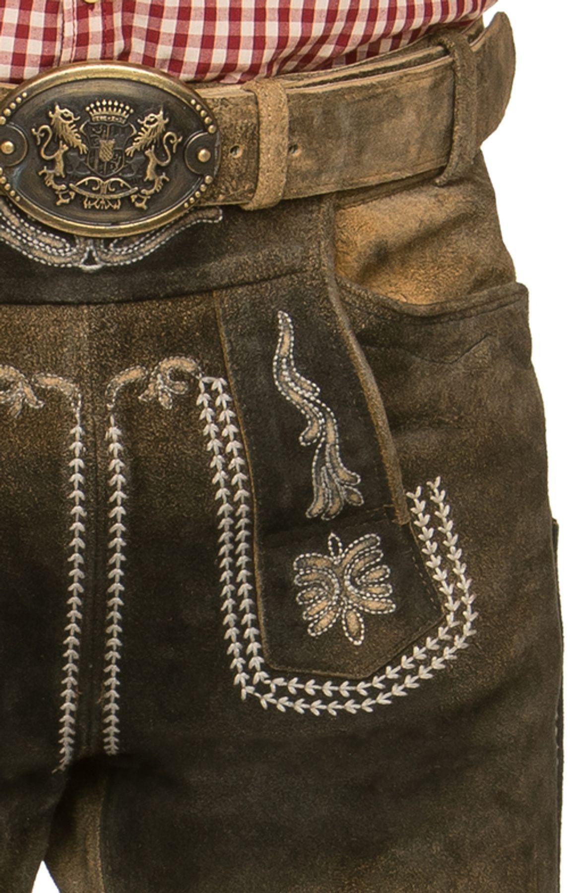 Stockerpoint - Herren Trachten Lederhose mit Gürtel, in uroid gespeckt, Sebastian – Bild 4