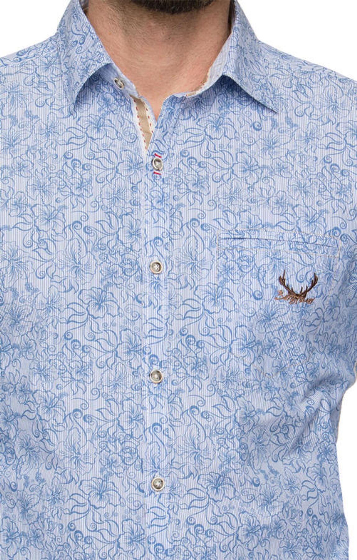Stockerpoint - Herren Trachtenhemd in Blue stripe, James – Bild 6