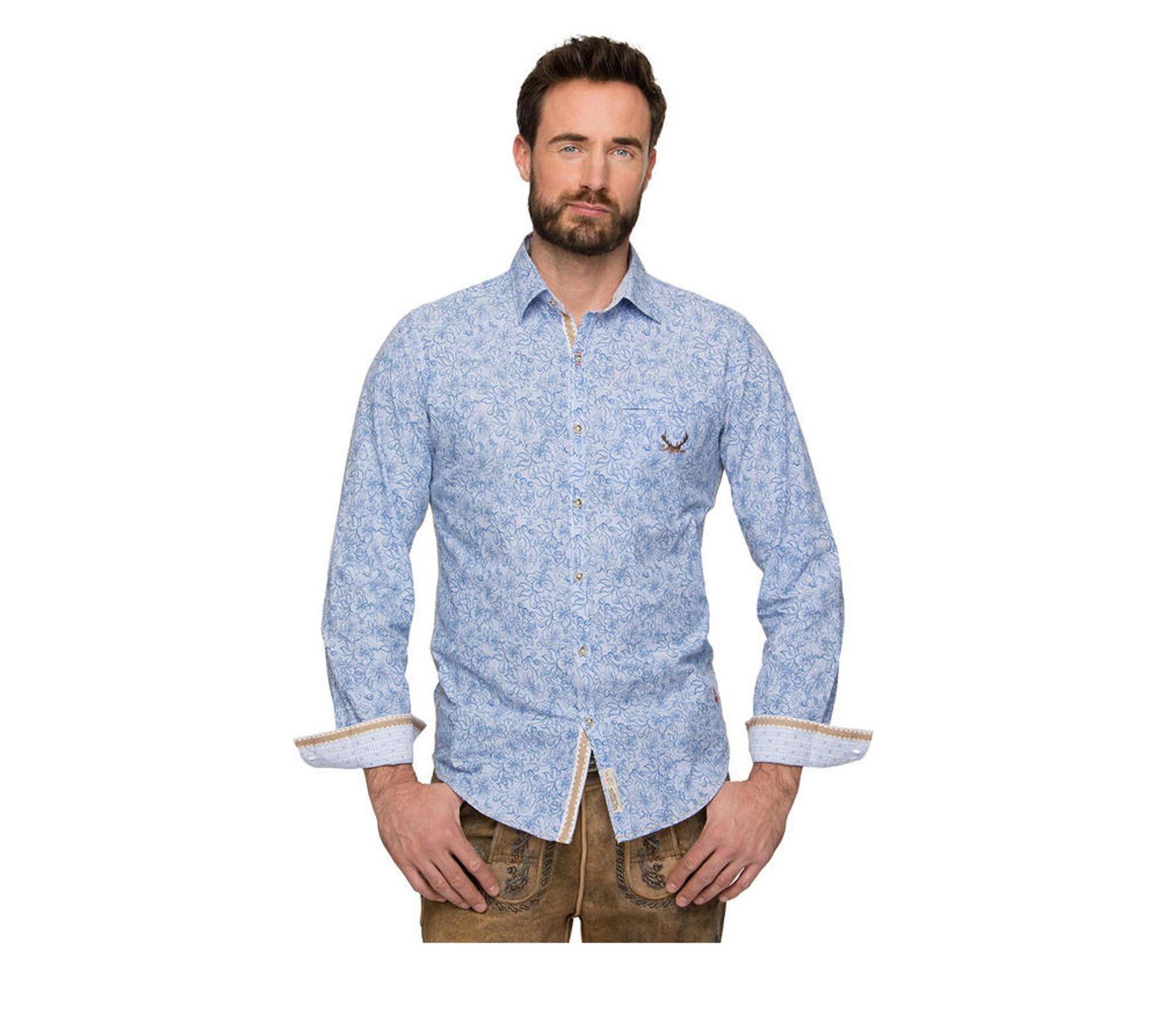 Stockerpoint - Herren Trachtenhemd in Blue stripe, James – Bild 1