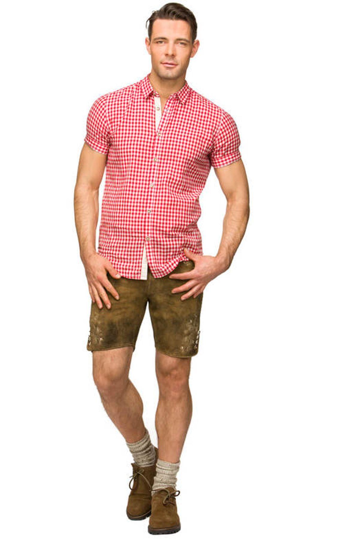 Stockerpoint - Herren Kurzarm Trachtenhemd in Rot und Blau, Connor – Bild 4