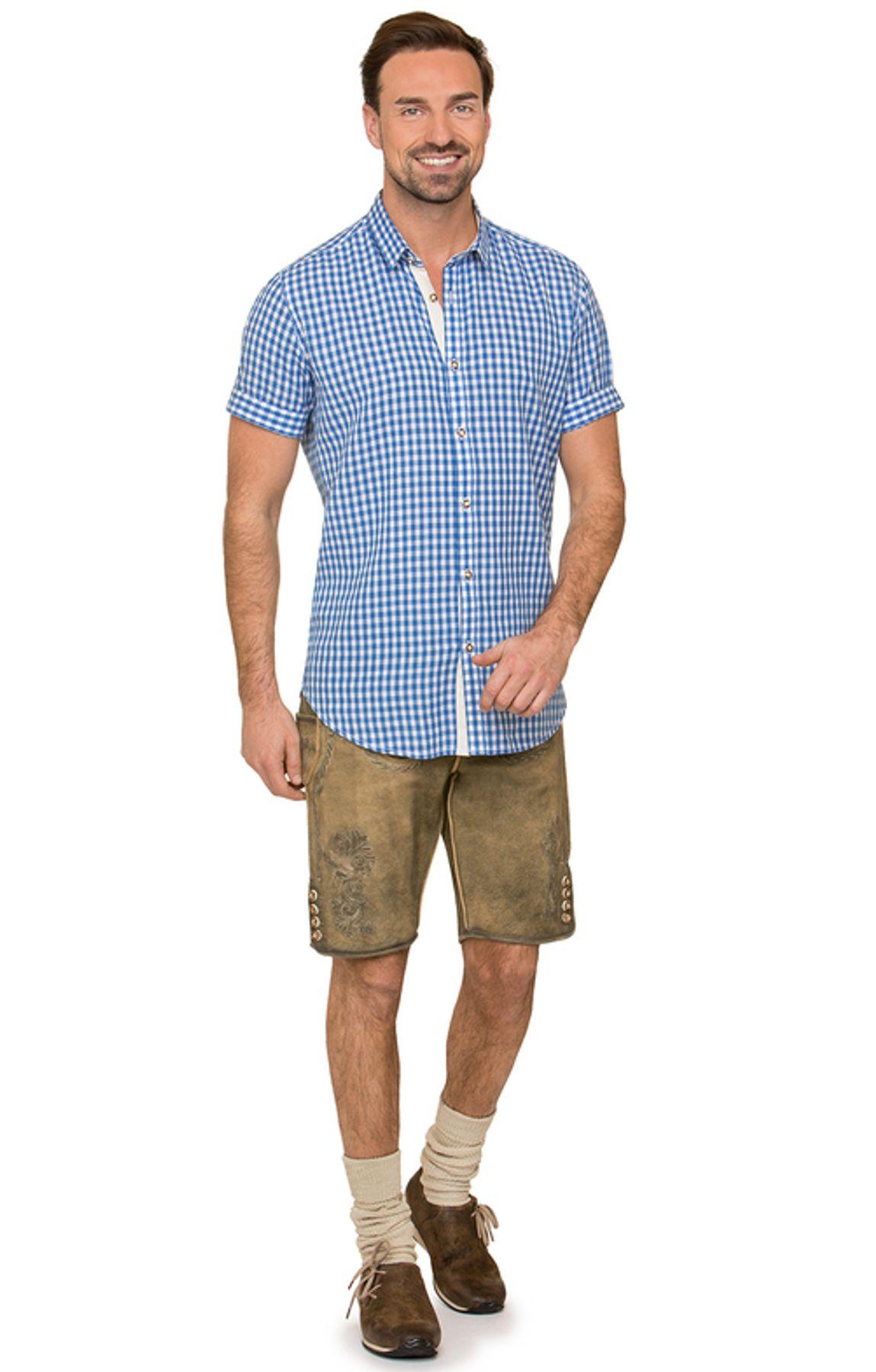 Stockerpoint - Herren Kurzarm Trachtenhemd in Rot und Blau, Connor – Bild 8