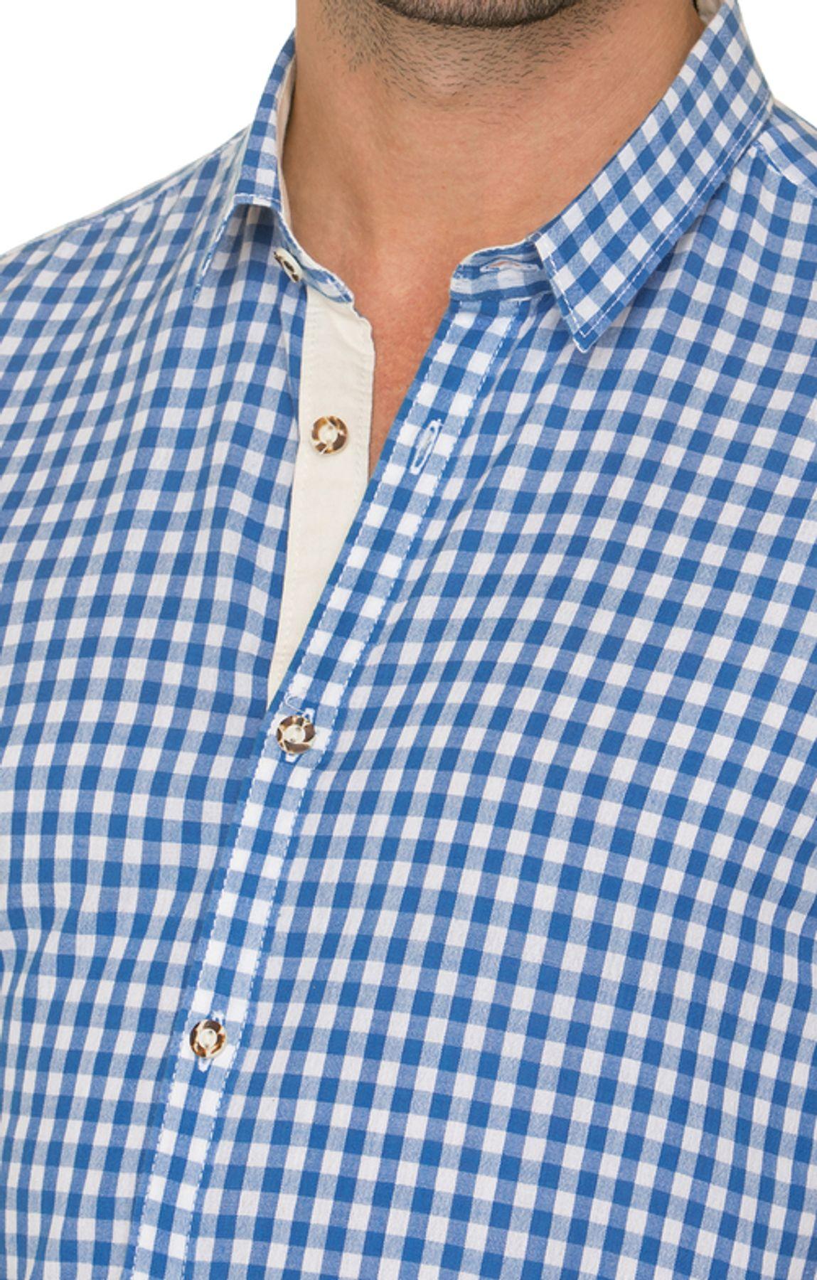 Stockerpoint - Herren Kurzarm Trachtenhemd in Rot und Blau, Connor – Bild 12