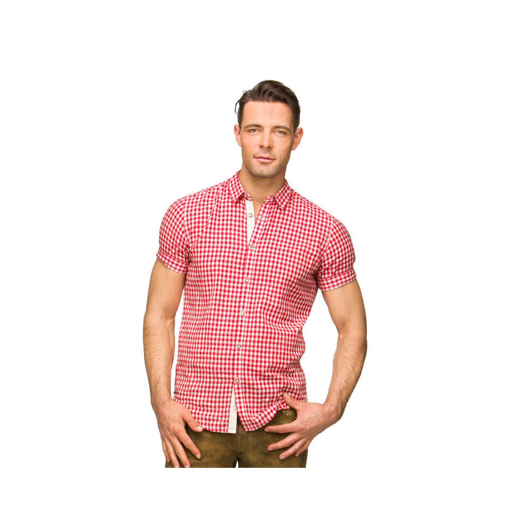 Stockerpoint - Herren Kurzarm Trachtenhemd in Rot und Blau, Connor – Bild 1