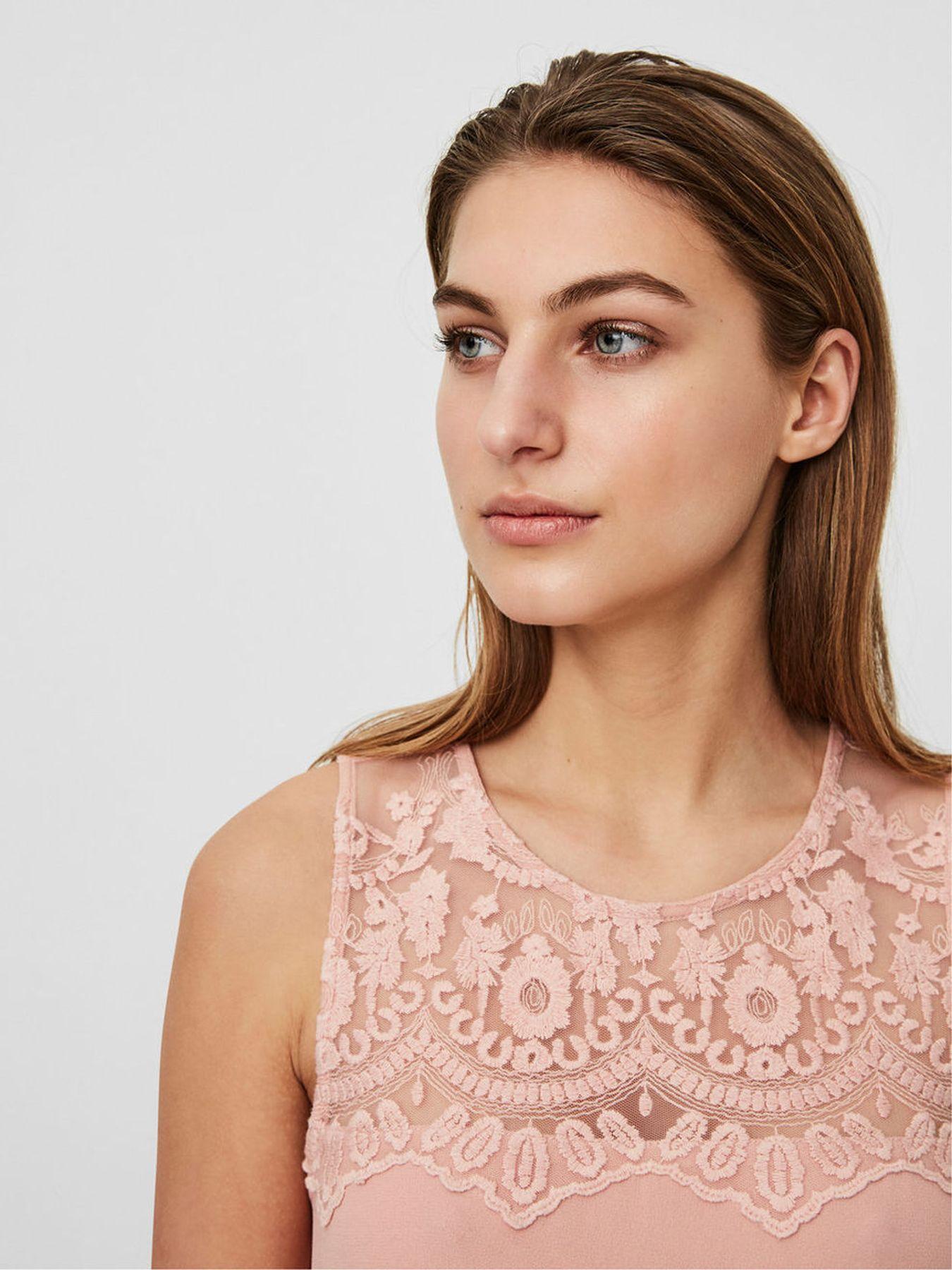 Konfirmations Kleid - VERO MODA - Damen Spitzen Kleid ohne Ärmel in rose oder blau (10193196) – Bild 5