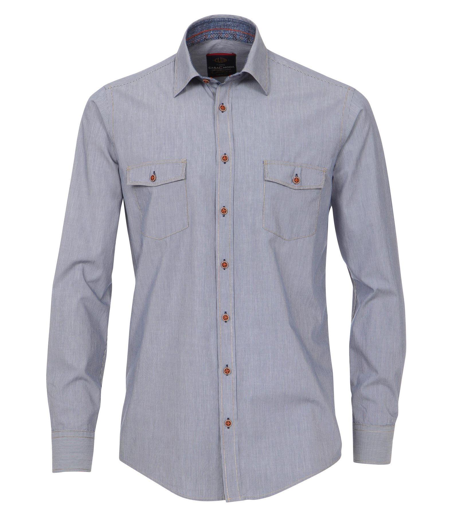 Casa Moda - Casual Fit - Dobby Herren Hemd gestreift mit Kent-Kragen in blau (472800700A) – Bild 1