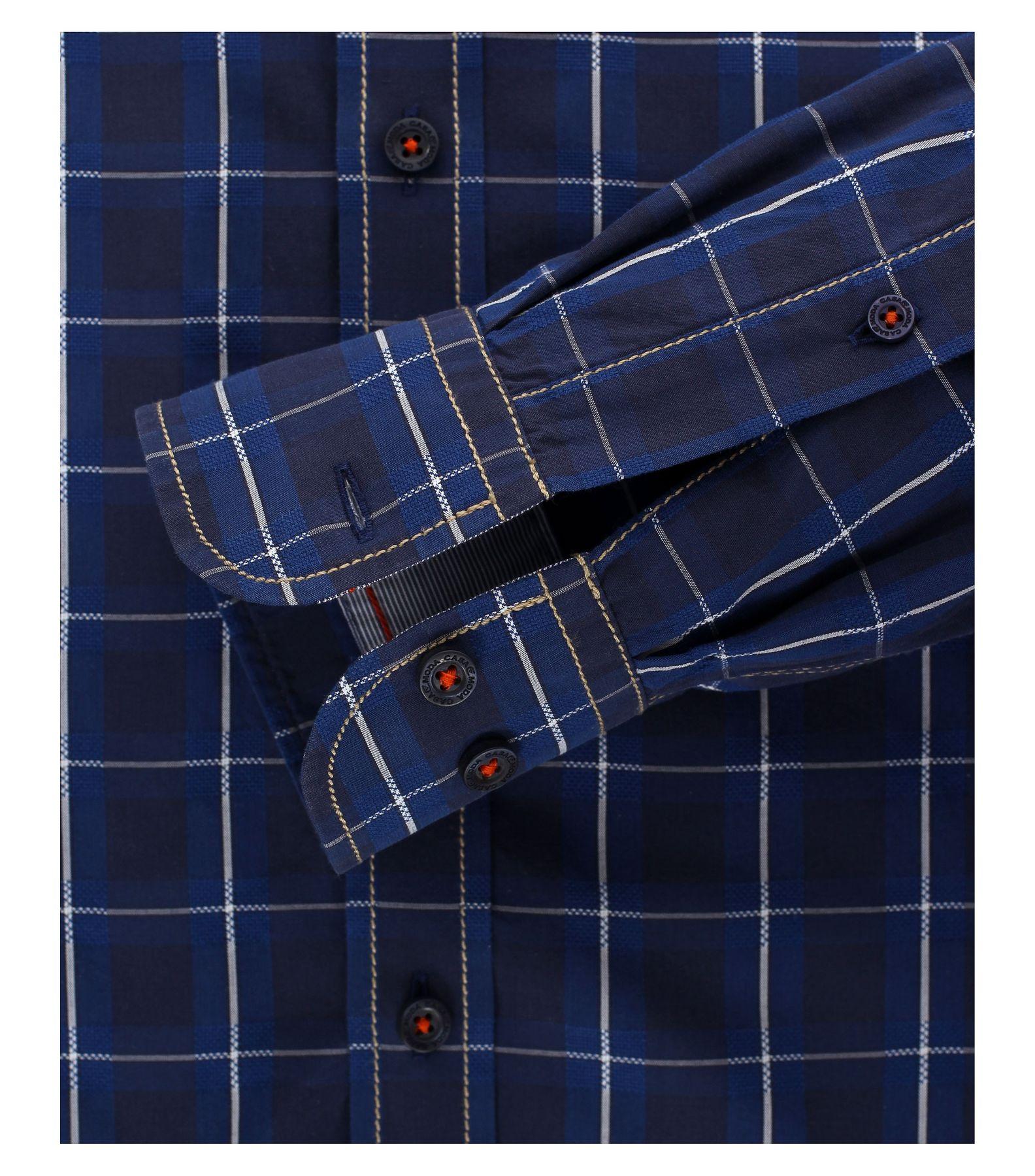 Casa Moda - Casual Fit - Dobby Herren Hemd kariert mit Button Down-Kragen in blau (472800800A) – Bild 4