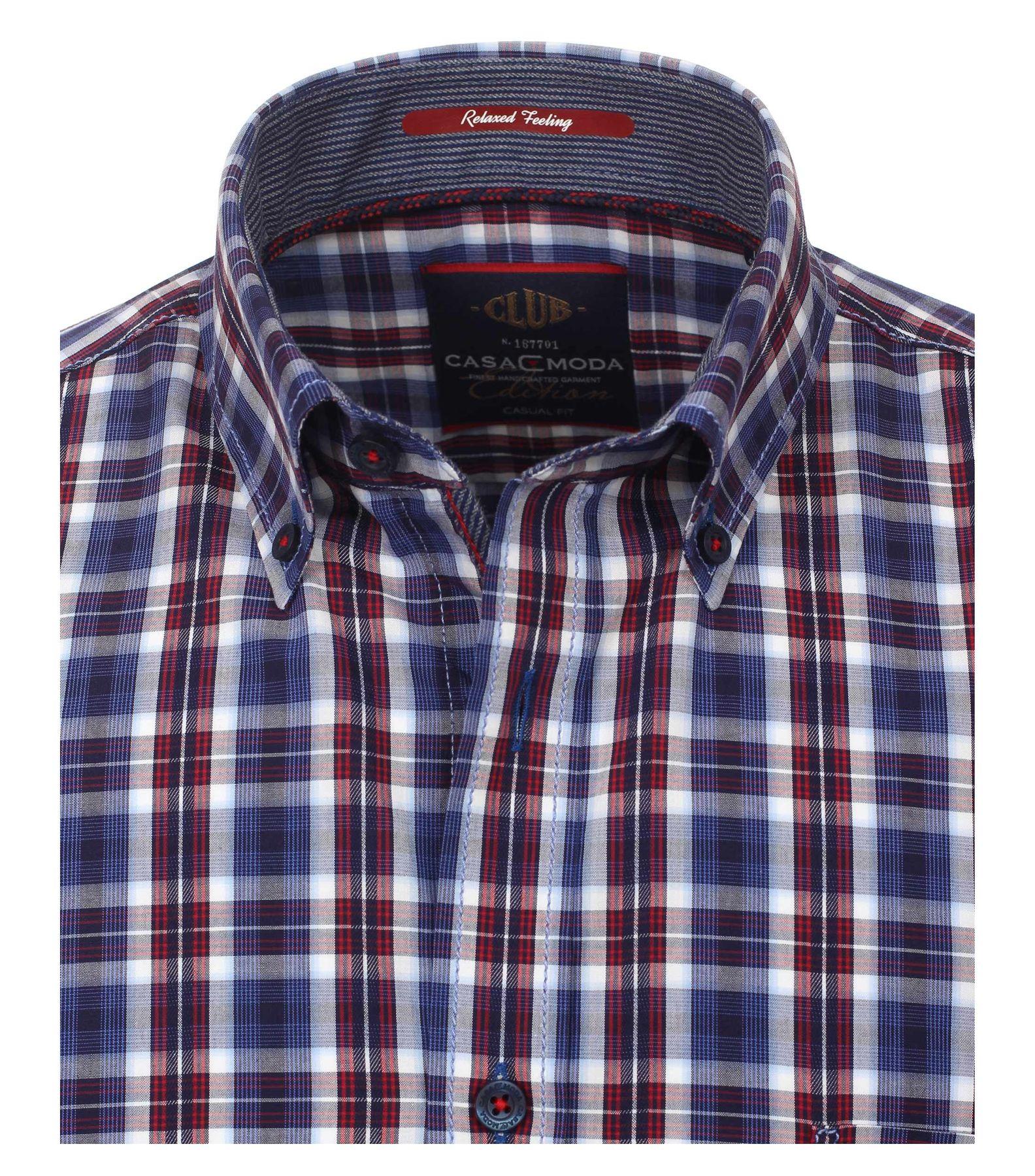 Casa Moda - Casual Fit - Dobby Herren Hemd kariert mit Button Down-Kragen in Blau (472802400A) – Bild 3