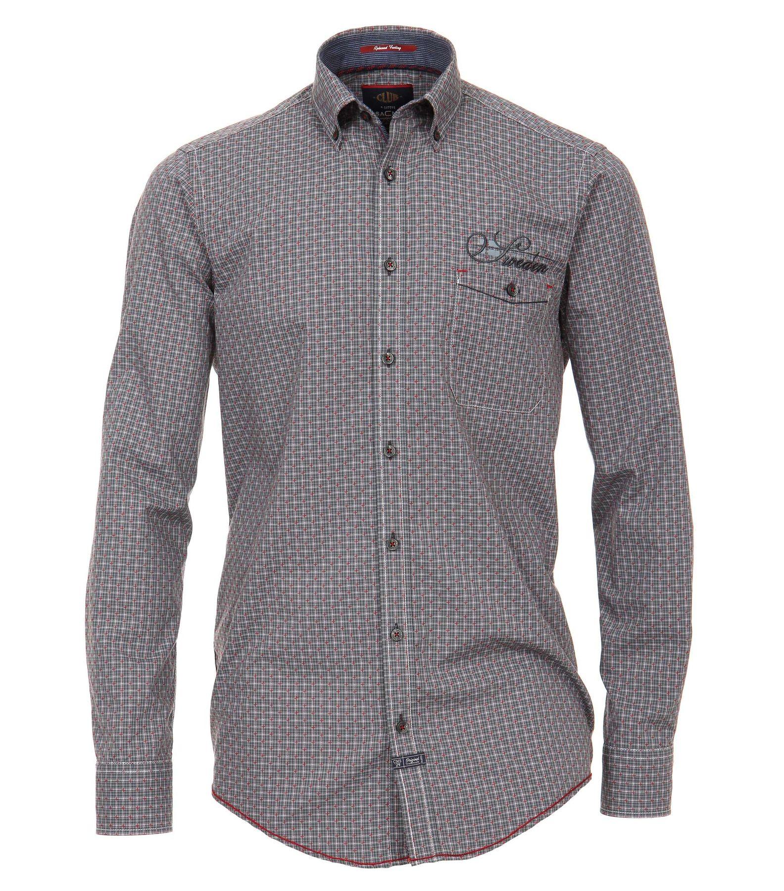 Casa Moda - Casual Fit - Dobby Herren Hemd kariert mit Button Down-Kragen in Grau (472803800A) – Bild 1