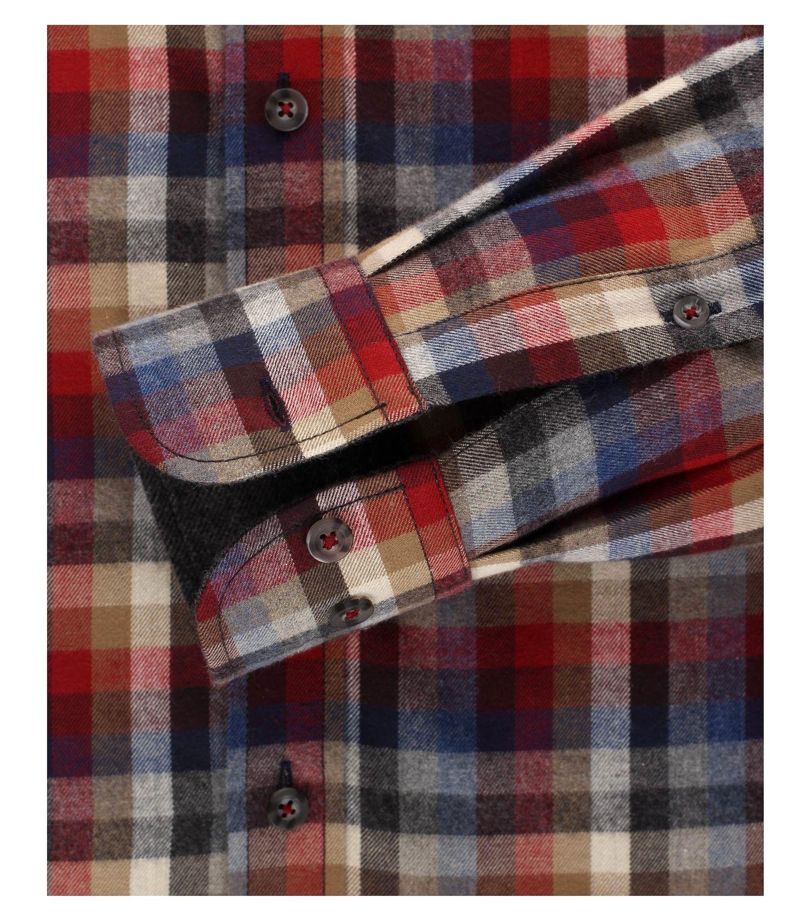 Casa Moda - Casual Fit - Flanell Herren Hemd, kariert mit Button Down-Kragen in Rot (472808500) – Bild 4