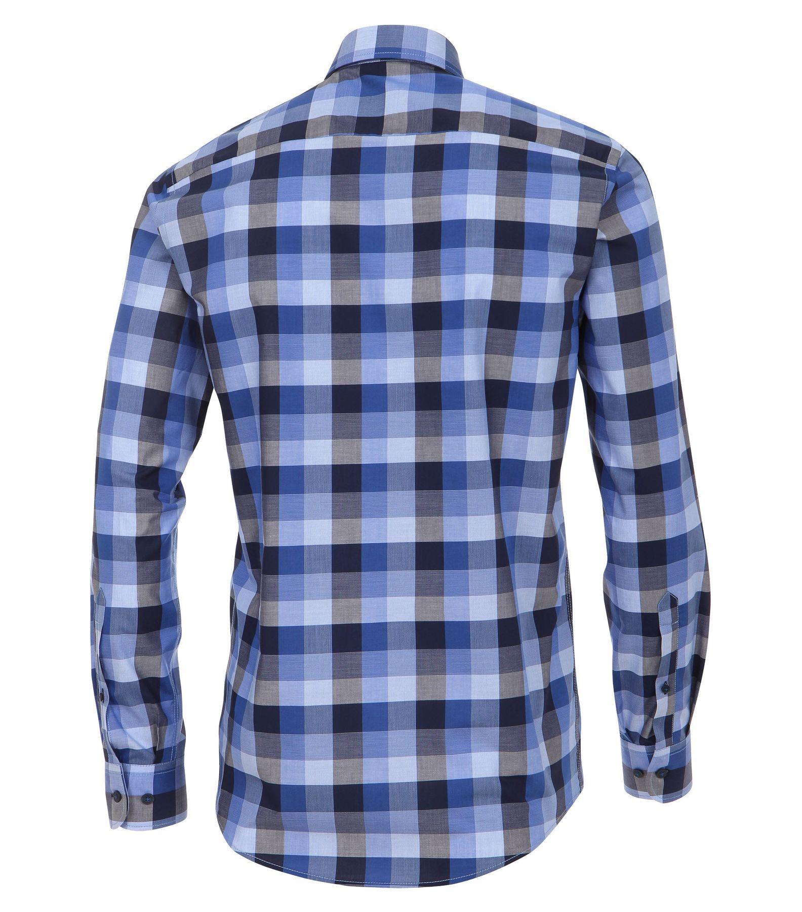 Casa Moda - Casual Fit - Dobby Herren Hemd kariert mit Button Down-Kragen in Rot und Blau (472837100A) – Bild 2