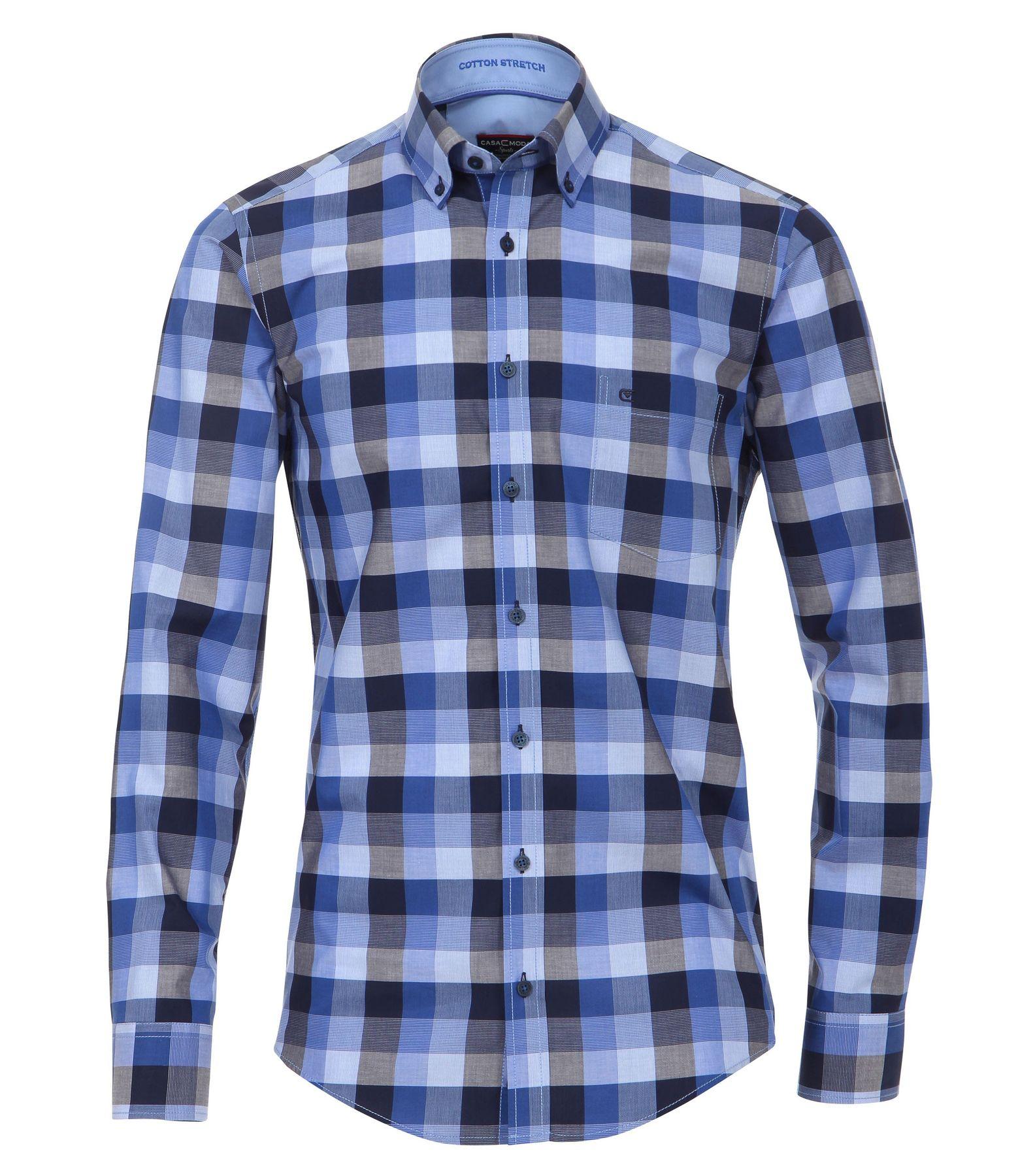 Casa Moda - Casual Fit - Dobby Herren Hemd kariert mit Button Down-Kragen in Rot und Blau (472837100A) – Bild 1