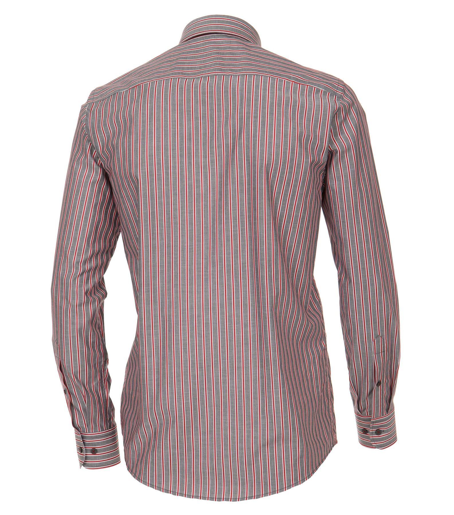Casa Moda - Casual Fit - Herren Dobby Hemd, gestreift mit Button Down-Kragen in Blau und Rot (472837400A) – Bild 5