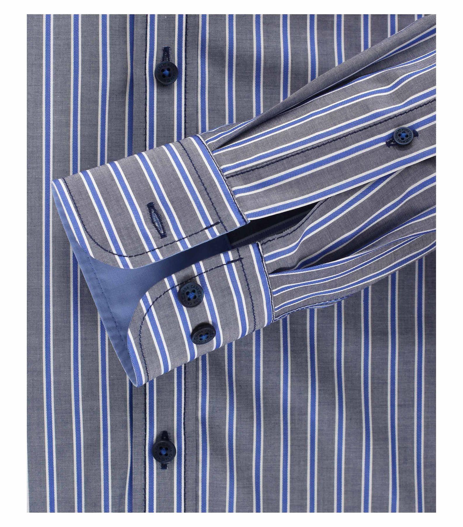 Casa Moda - Casual Fit - Herren Dobby Hemd, gestreift mit Button Down-Kragen in Blau und Rot (472837400A) – Bild 3