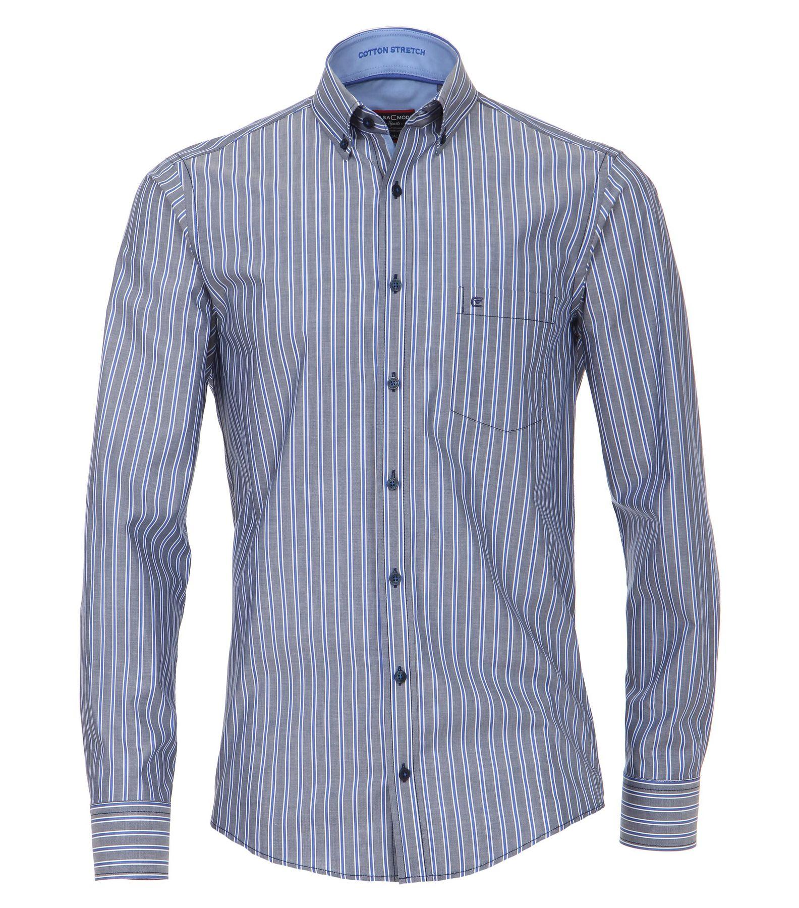 Casa Moda - Casual Fit - Herren Dobby Hemd, gestreift mit Button Down-Kragen in Blau und Rot (472837400A) – Bild 1