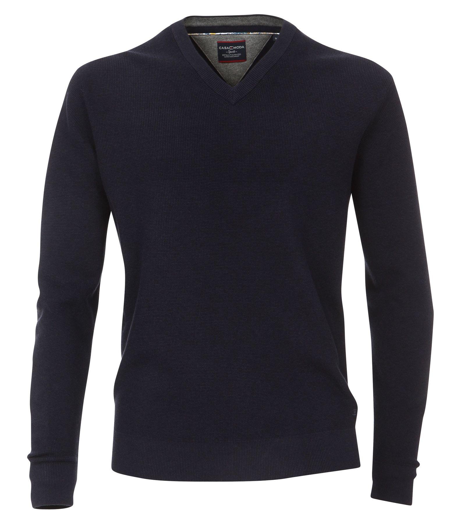 Casa Moda - Unifarbener Herren Pullover mit V-Ausschnitt  (472625000A) – Bild 1
