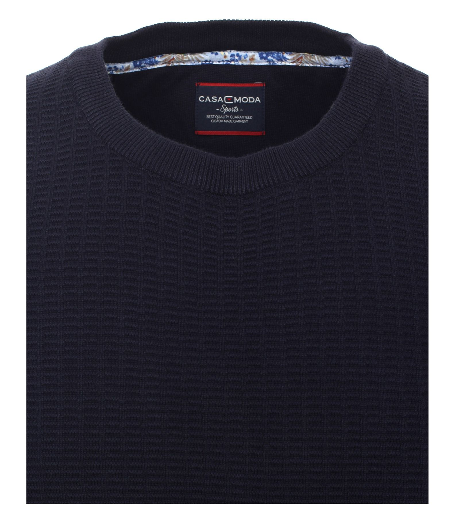 Casa Moda - Herren Pullover mit Rundhalsausschnitt und modischem Webmuster in Blau und Orange  (472625300A) – Bild 3