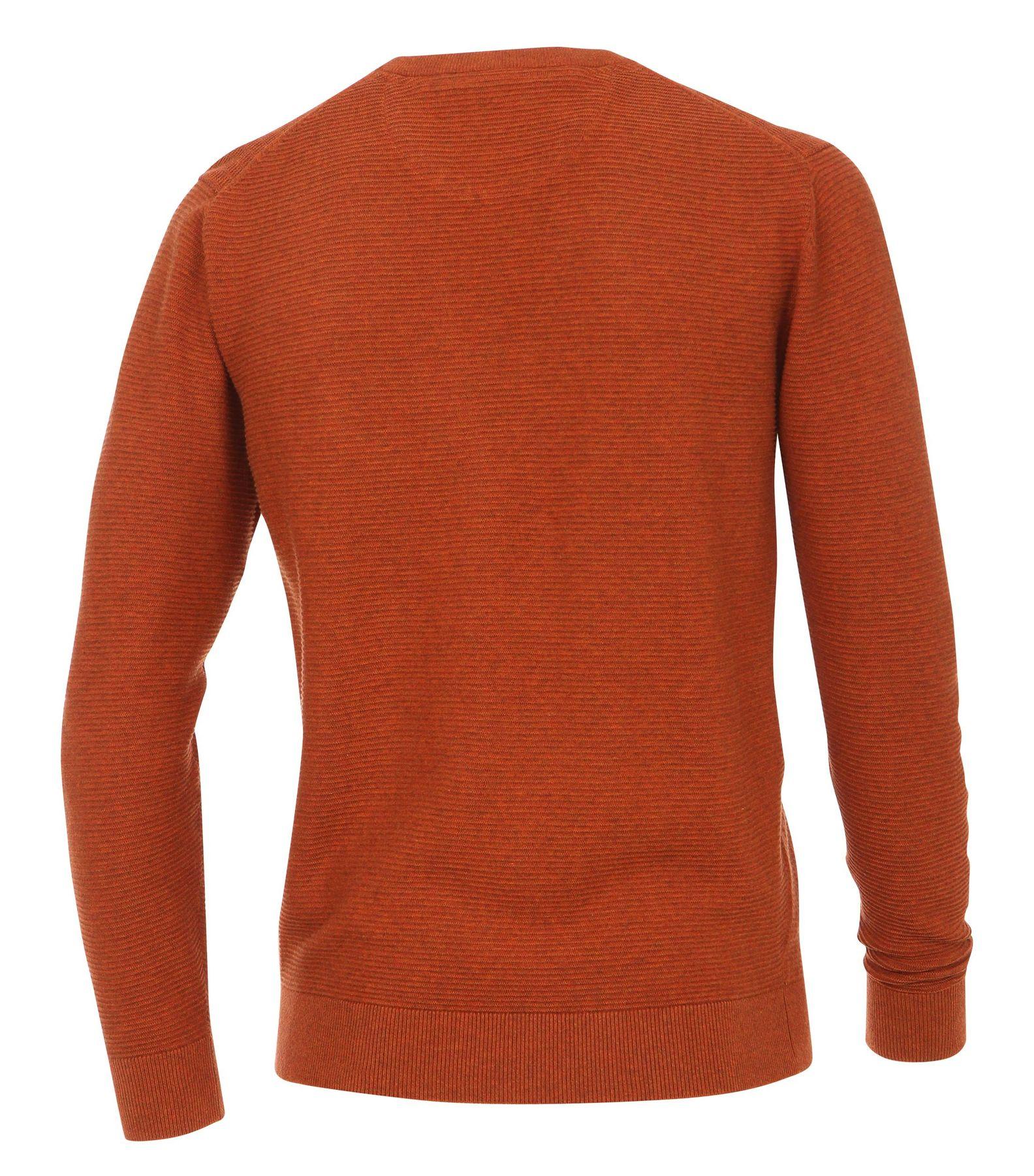 Casa Moda - Herren Pullover mit Rundhalsausschnitt und modischem Webmuster in Blau und Orange  (472625300A) – Bild 5