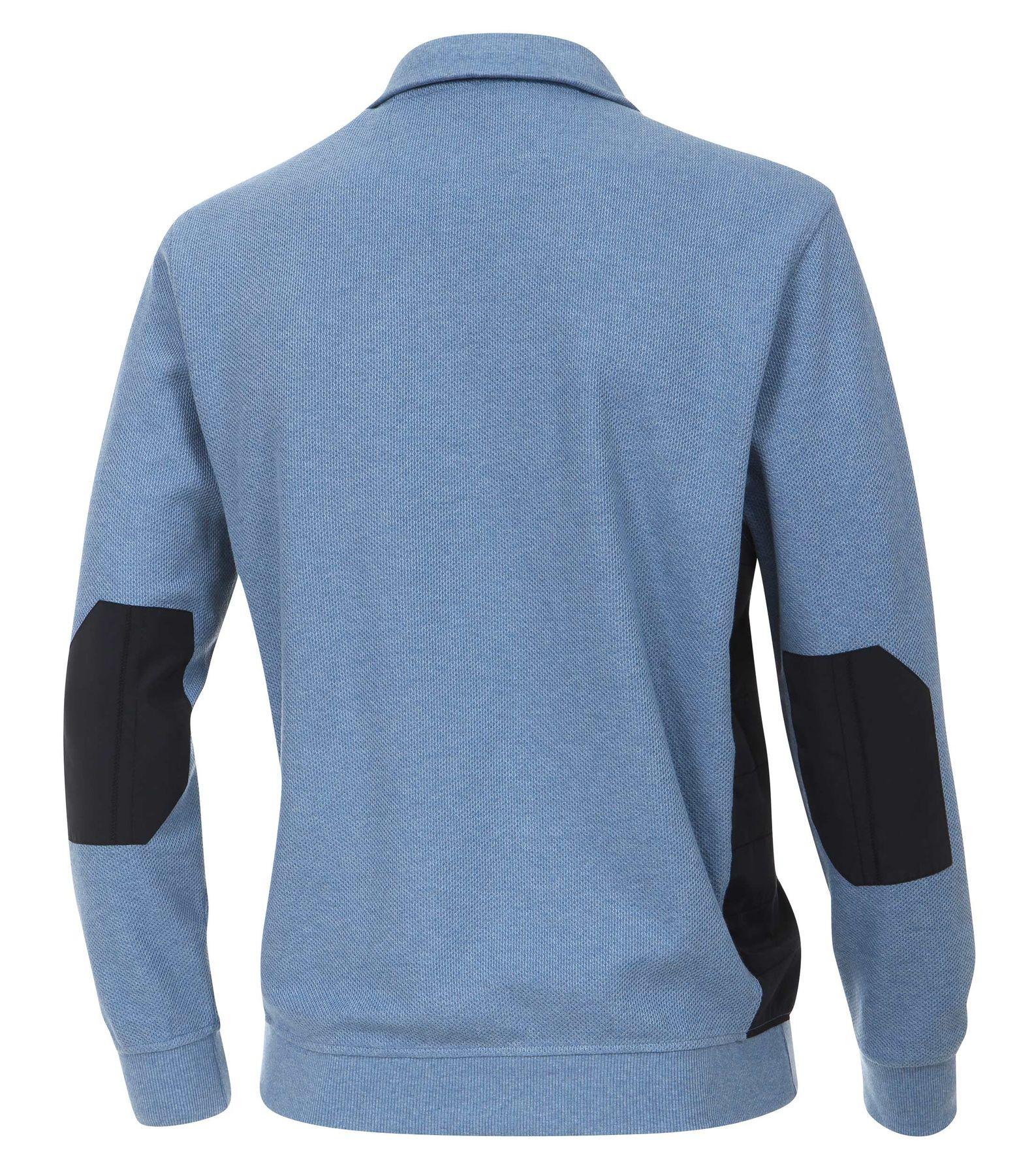 Casa Moda - Herren Sweat-Troyer mit Ellenbogen-Patches und Stickerei auf der Brust in Blau und Braun (472625900A) – Bild 10