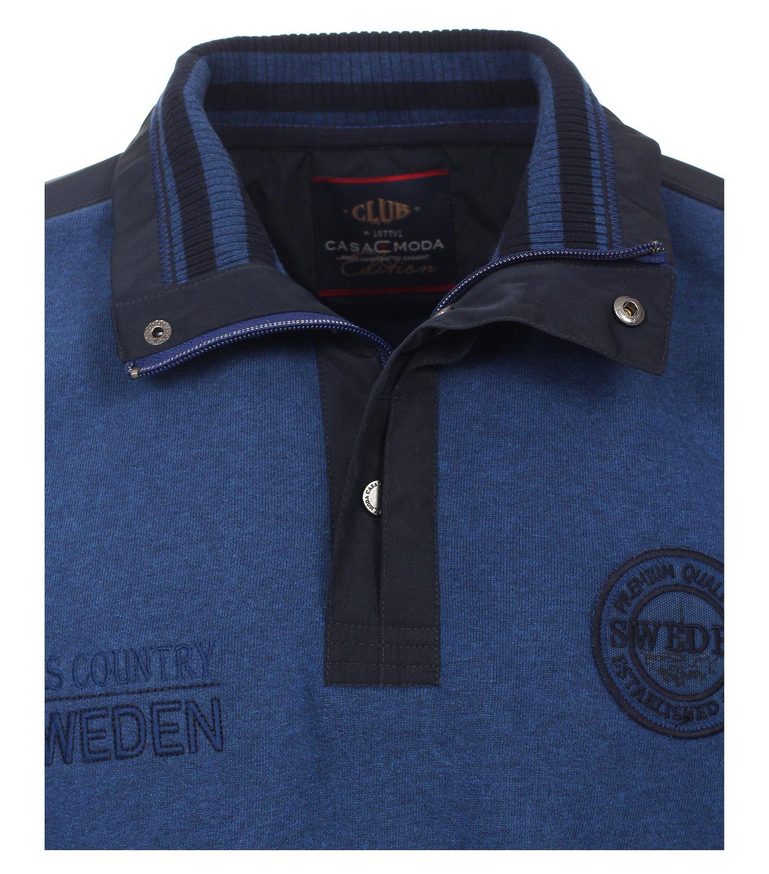 Casa Moda - Herren Sweat-Troyer mit Stickerei auf der Brust in Blau (472780600A) – Bild 3