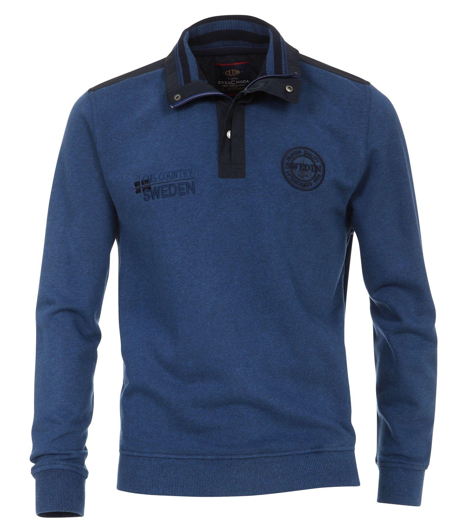Casa Moda - Herren Sweat-Troyer mit Stickerei auf der Brust in Blau (472780600A) – Bild 1
