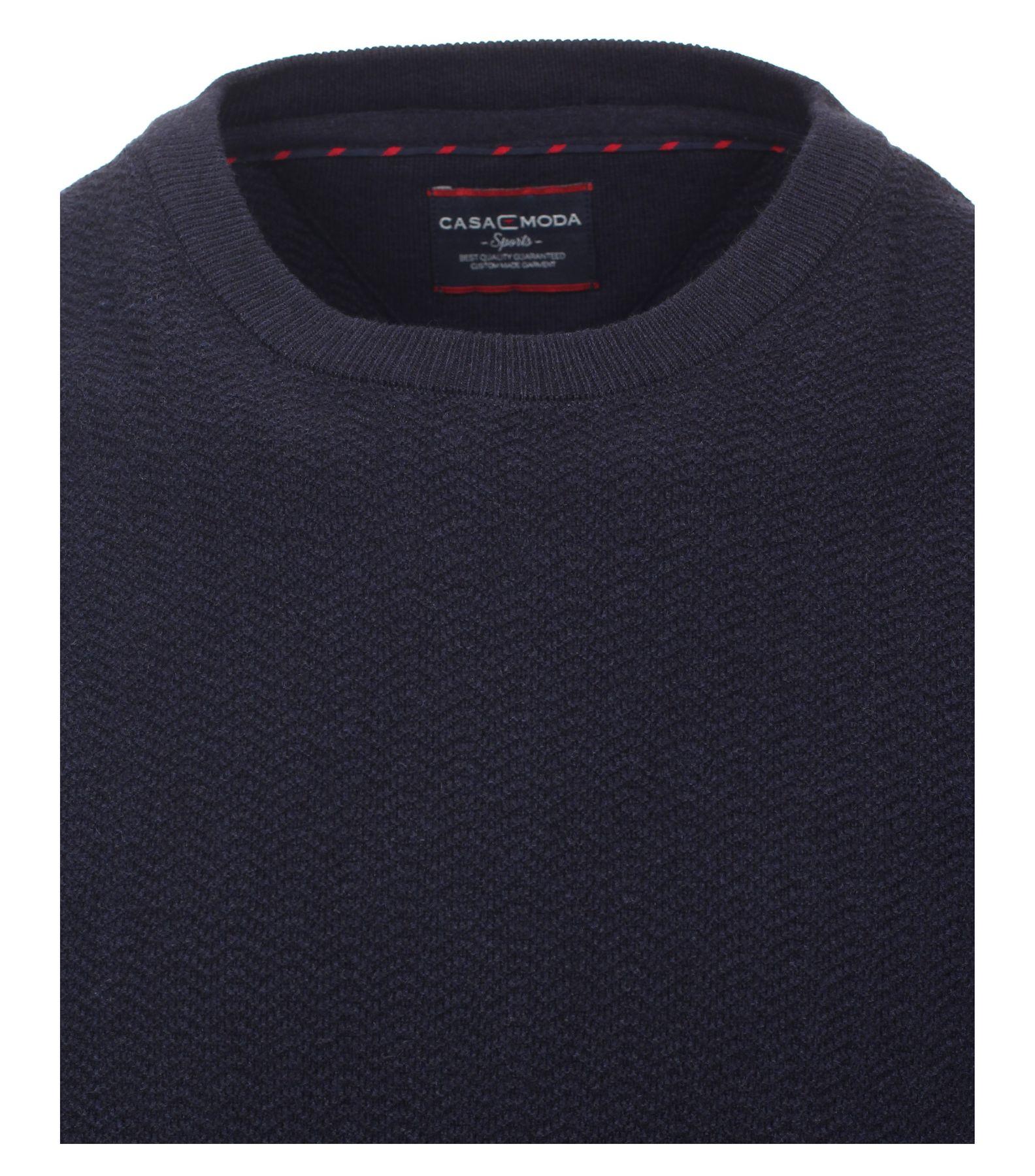 Casa Moda - Herren Pullover mit Rundhalsausschnitt und modischem Webmuster in Blau  (472779000A) – Bild 3