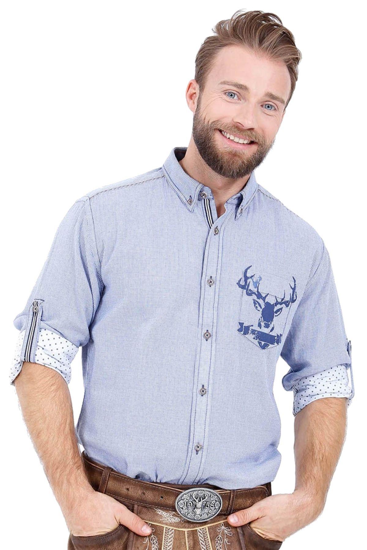 Krüger - Herren Trachtenhemd in Blau kariert, Erik (95105-8) – Bild 1