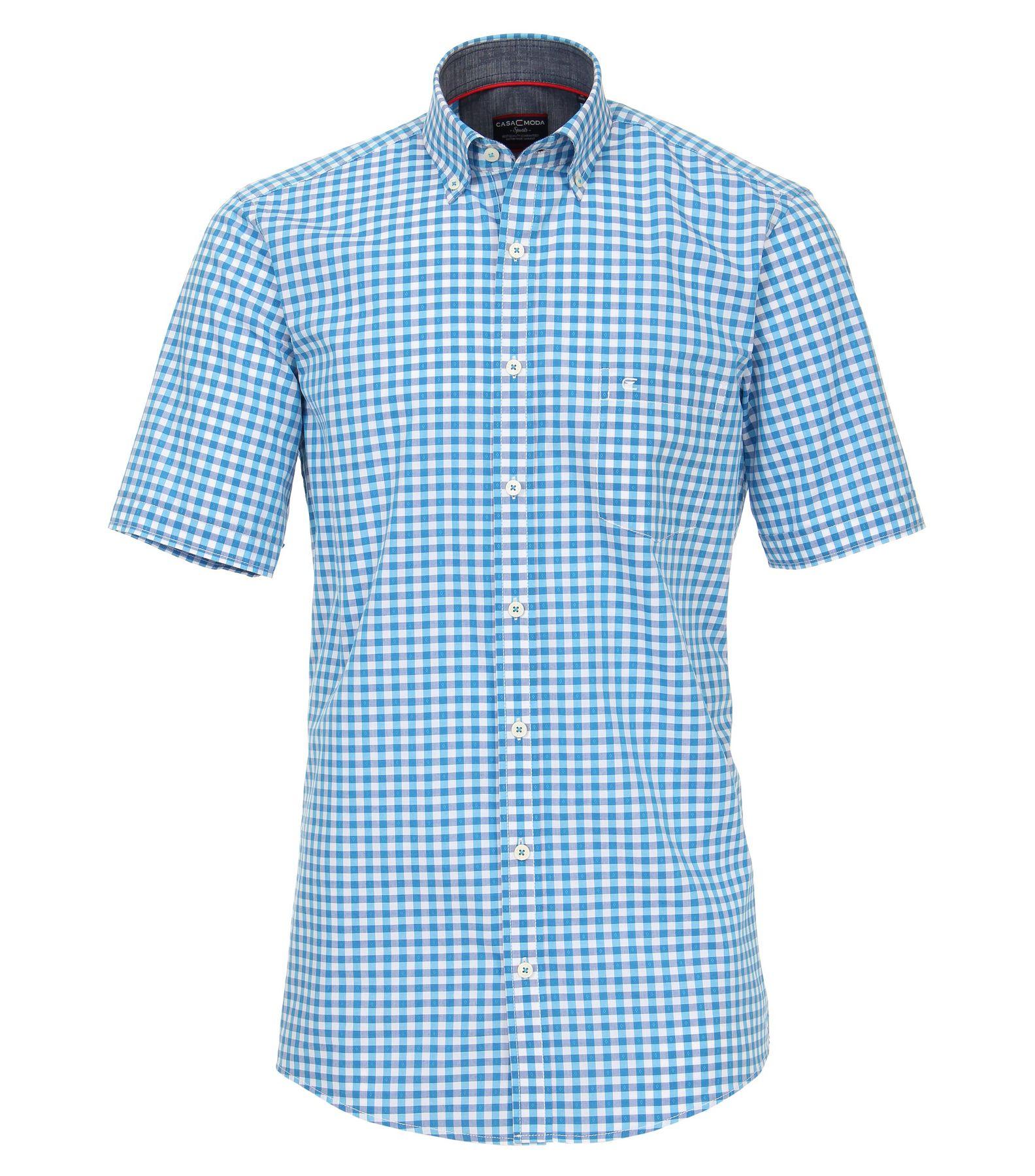 Casa Moda - Comfort Fit - Dobby Herren Freizeit 1/2-Arm-Hemd kariert mit Button-Down Kragen in türkis oder anthrazit (982972600) – Bild 1