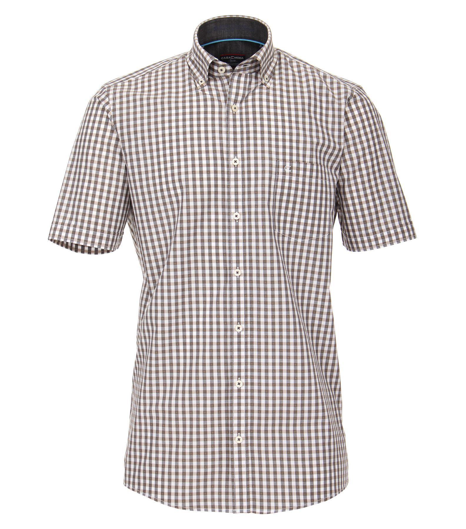 Casa Moda - Comfort Fit - Dobby Herren Freizeit 1/2-Arm-Hemd kariert mit Button-Down Kragen in türkis oder anthrazit (982972600) – Bild 2