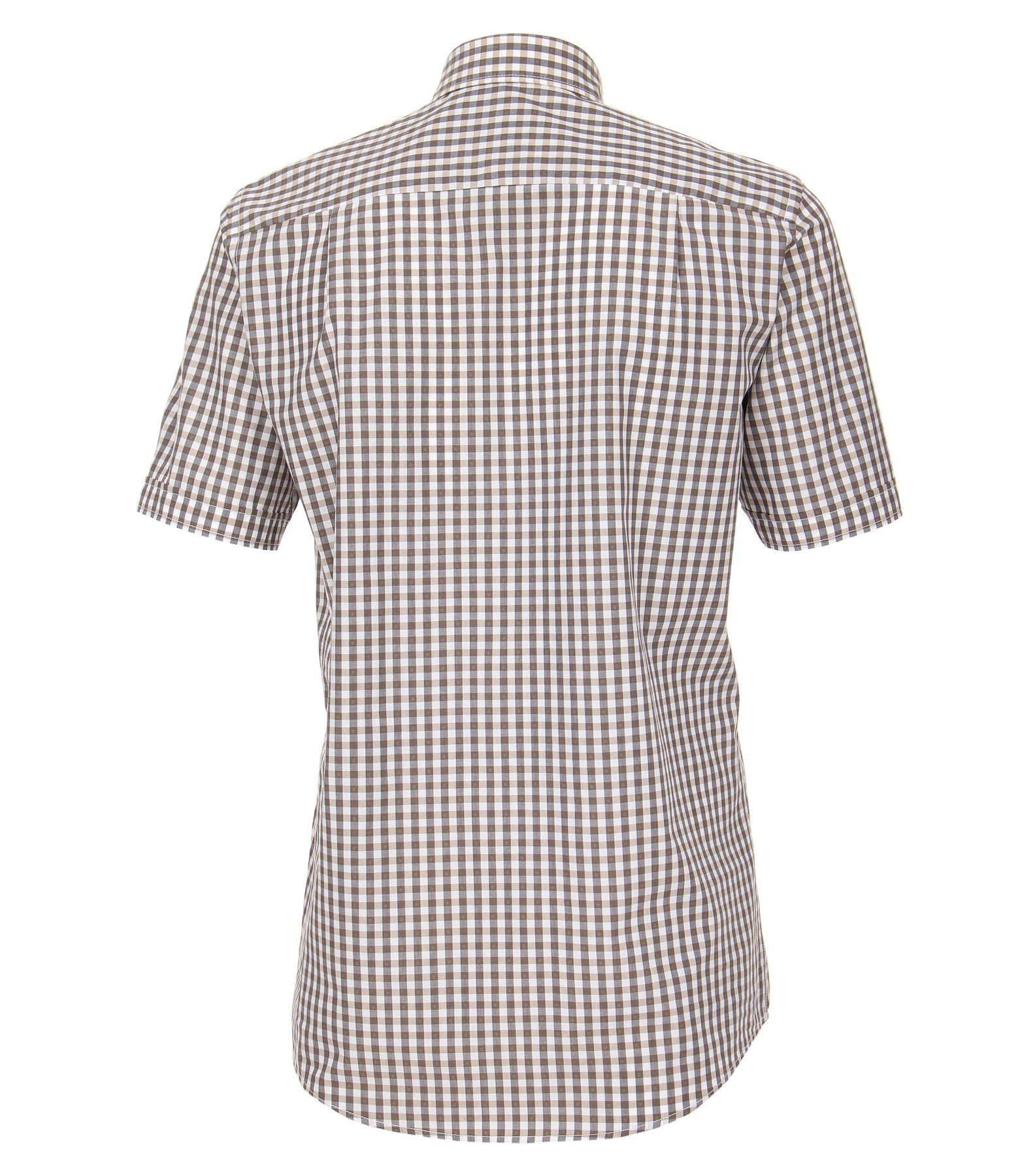 Casa Moda - Comfort Fit - Dobby Herren Freizeit 1/2-Arm-Hemd kariert mit Button-Down Kragen in türkis oder anthrazit (982972600) – Bild 3