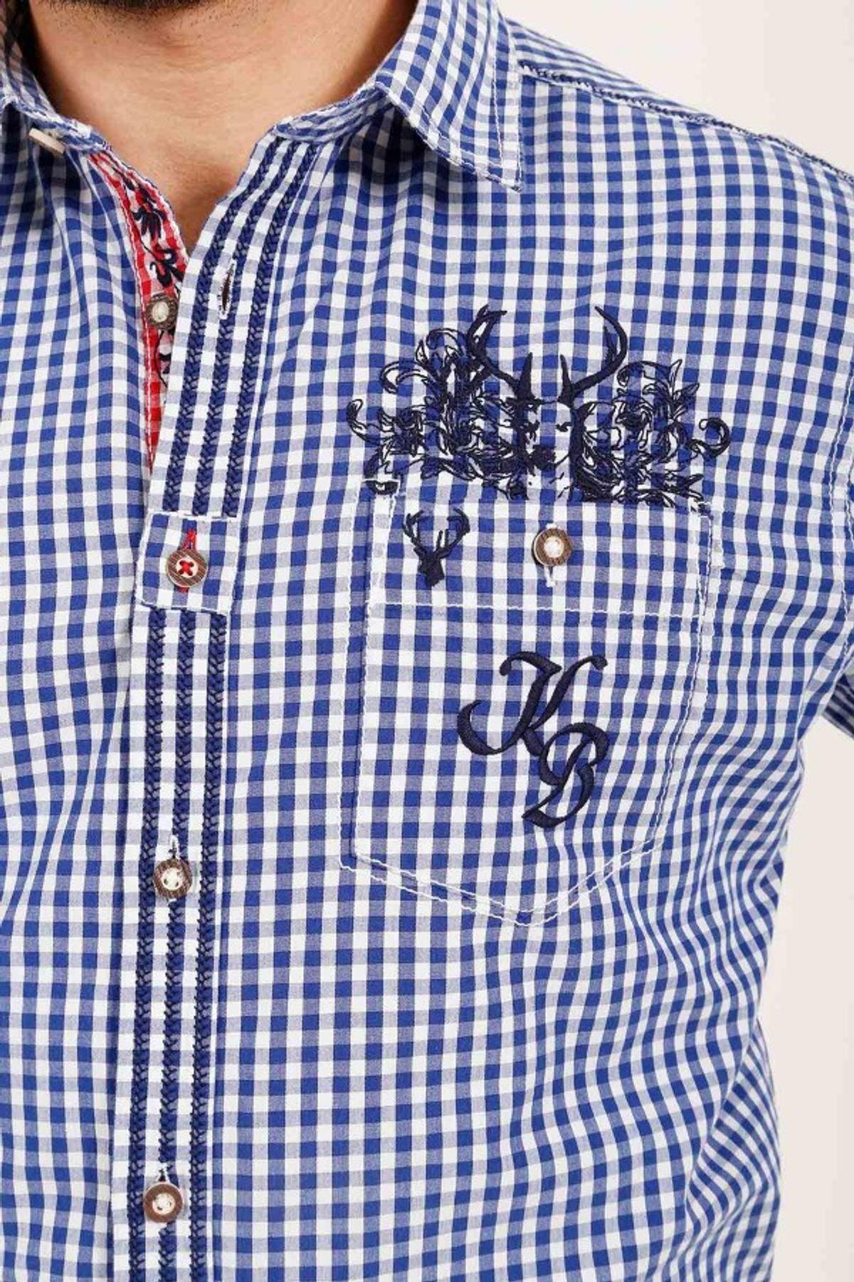 Krüger - Herren Trachtenhemd in blau, Hirsch Buam (93100-8) – Bild 4