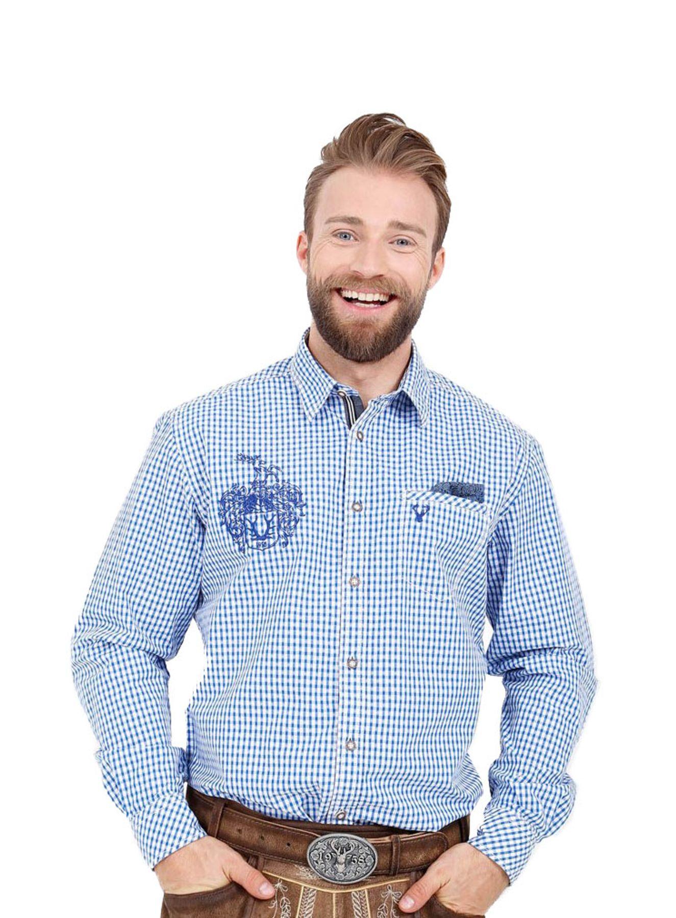 Krüger - Herren Trachtenhemd in blau, Ben (95104-8) – Bild 1