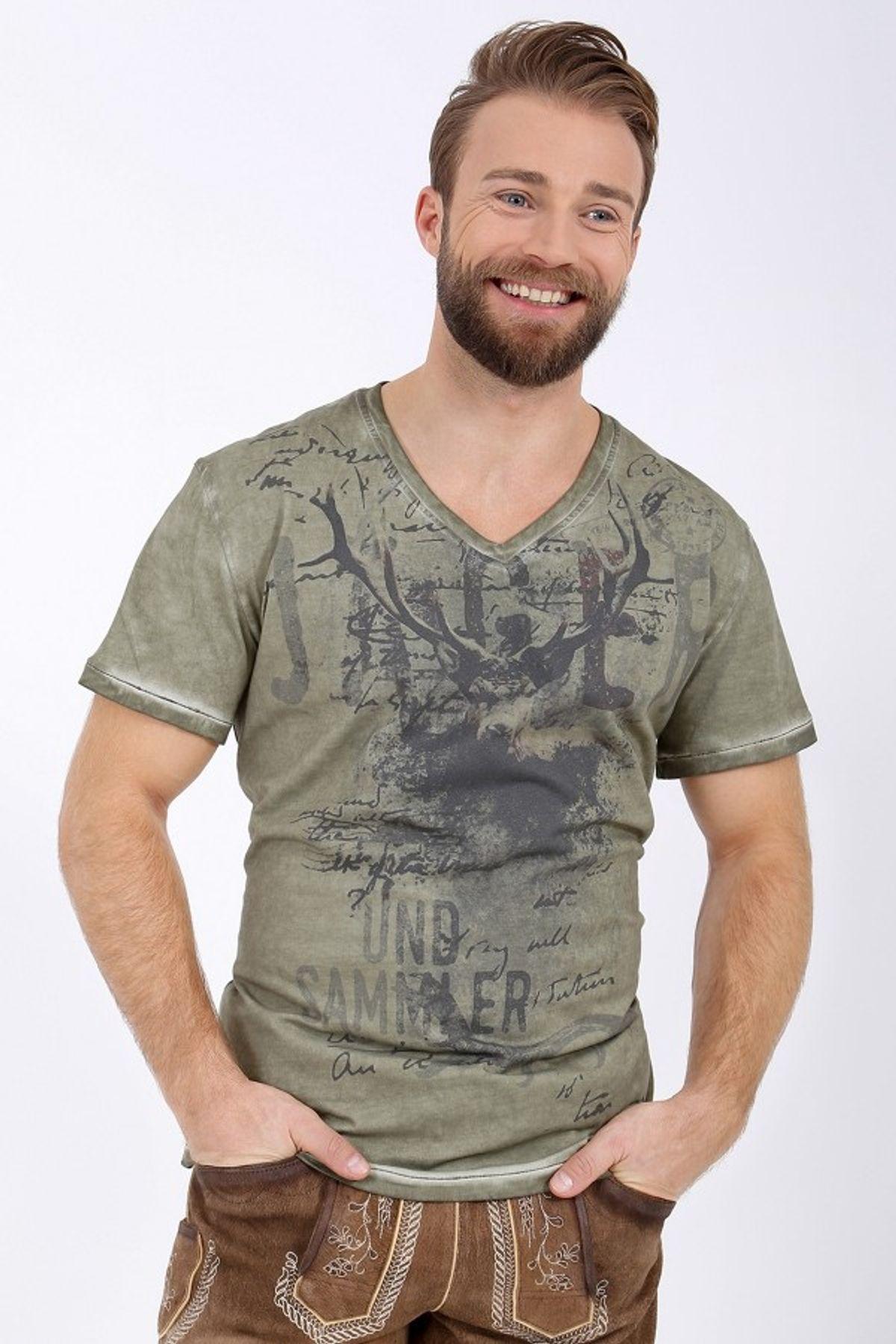 Krüger - Herren Trachten T-Shirt, Jäger Olive (95213-57) – Bild 2