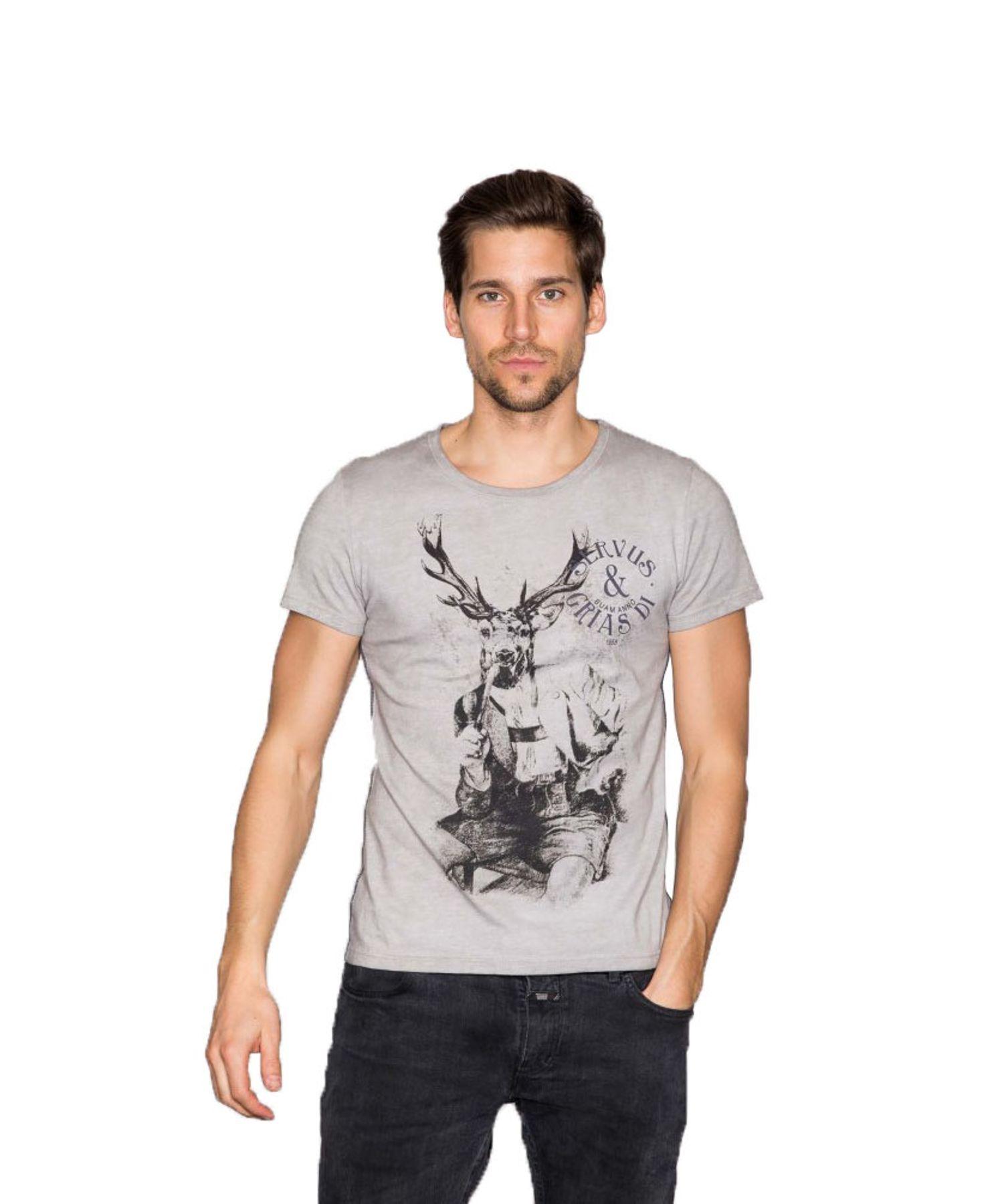 Krüger - Herren Trachten T-Shirt in grau, Grias Di (94200-43) – Bild 1