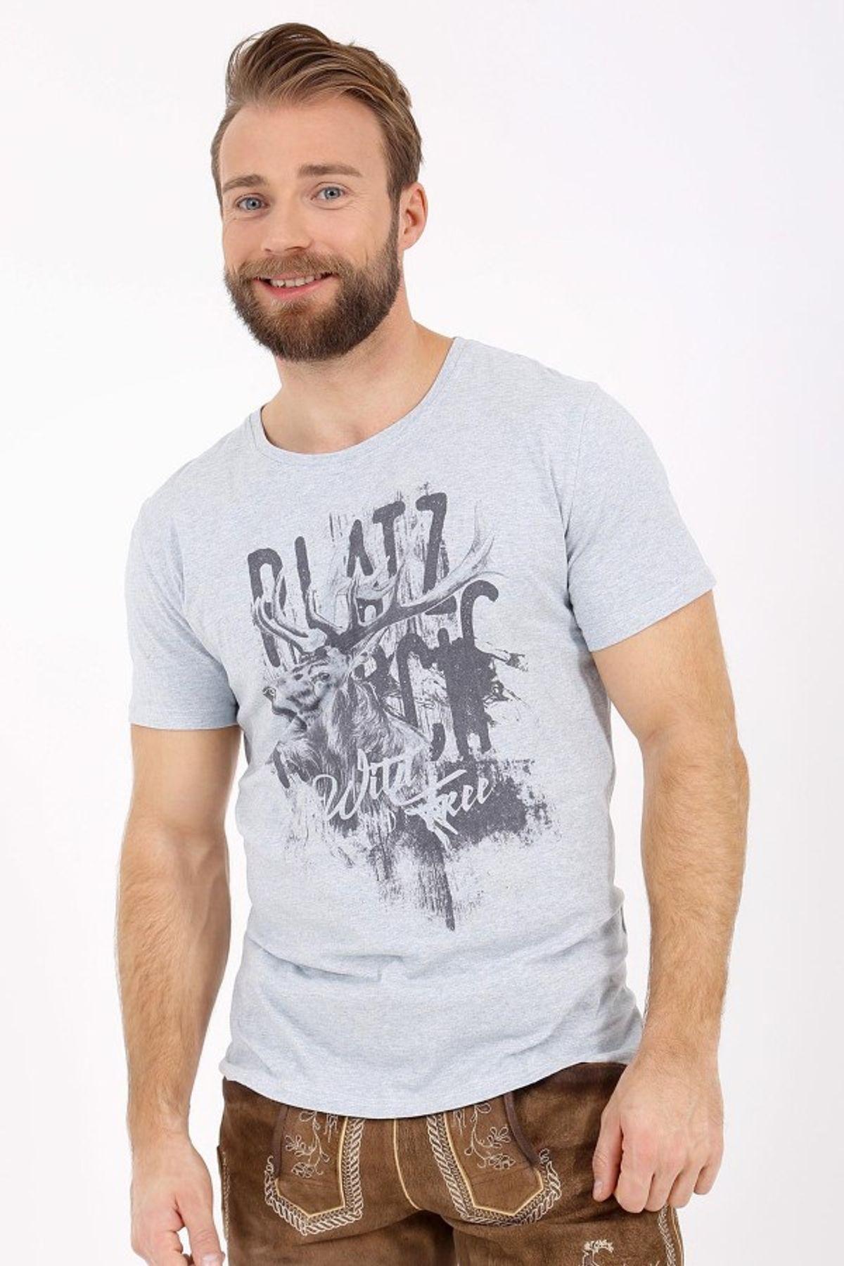 Krüger - Herren Trachten T-Shirt in hellblau, Platzhirsch (95211-81) – Bild 2