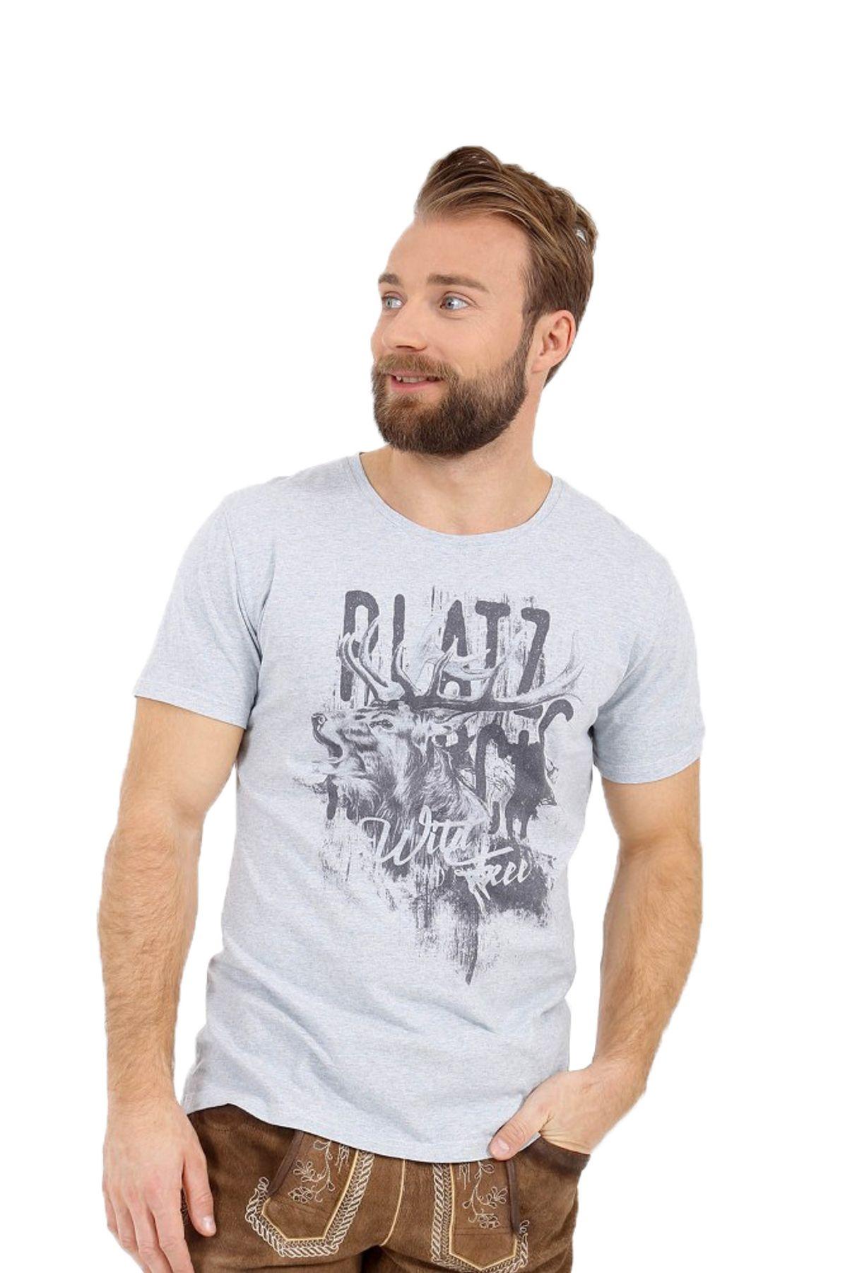 Krüger - Herren Trachten T-Shirt in hellblau, Platzhirsch (95211-81) – Bild 1