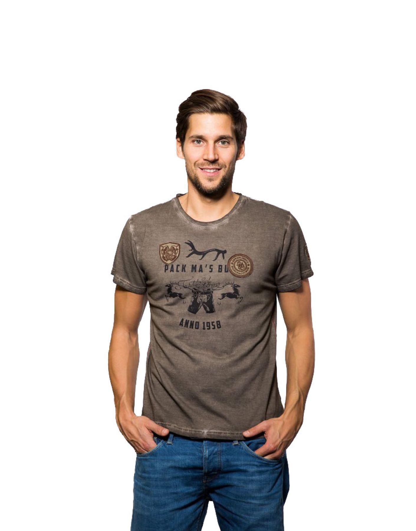 Krüger - Herren Trachten T-Shirt in braun, Pack Ma´s Buam (93202-7) – Bild 1