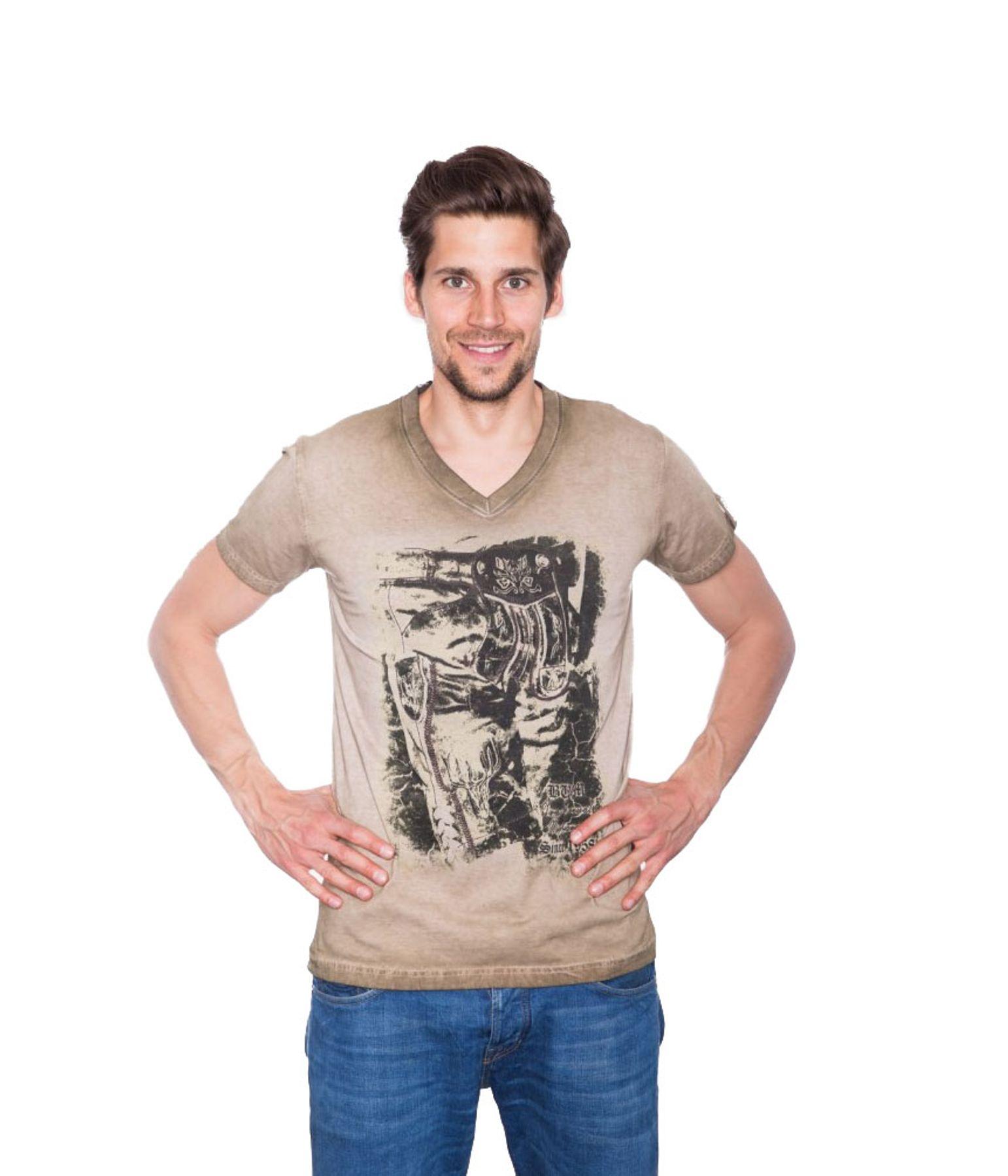 Krüger - Herren Trachten T-Shirt in braun, Seppelhose (91280-7) – Bild 1