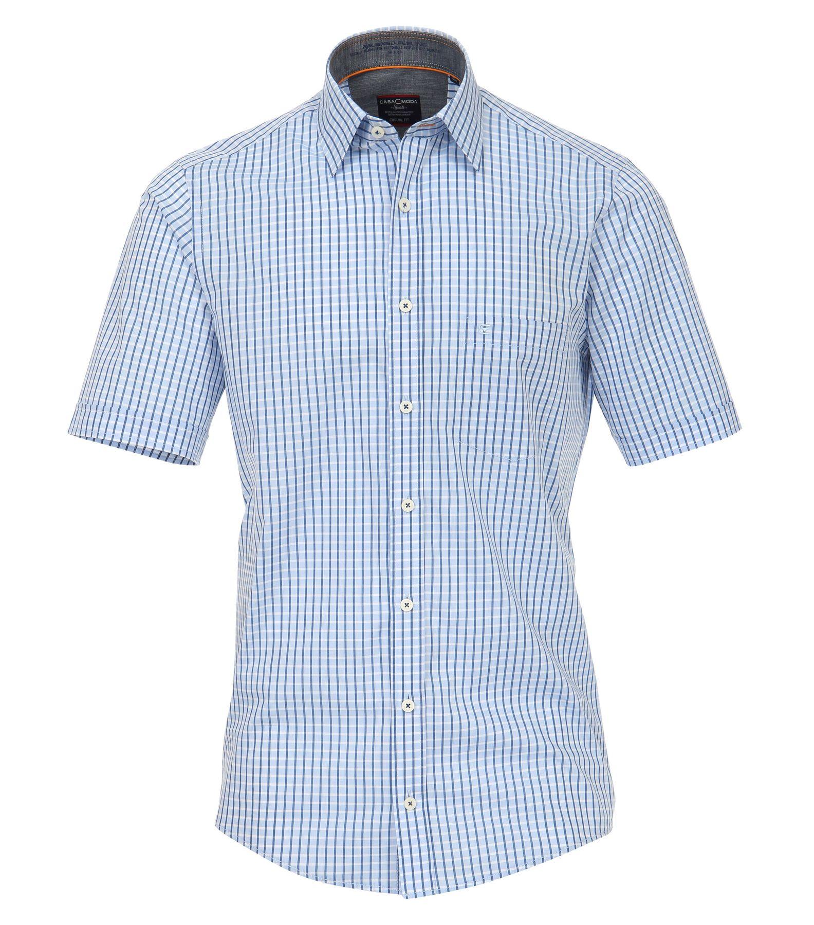 Casa Moda - Casual Fit - Herren Freizeit 1/2-Arm-Hemd mit Kent-Kragen in blau (982903500)